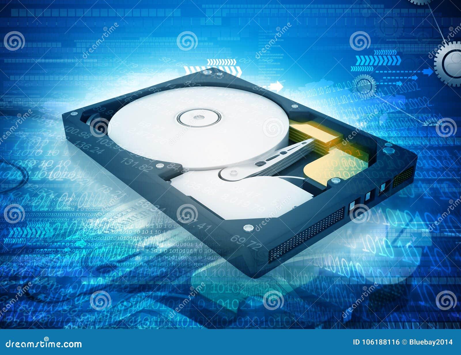 De open aandrijving van de computerharde schijf