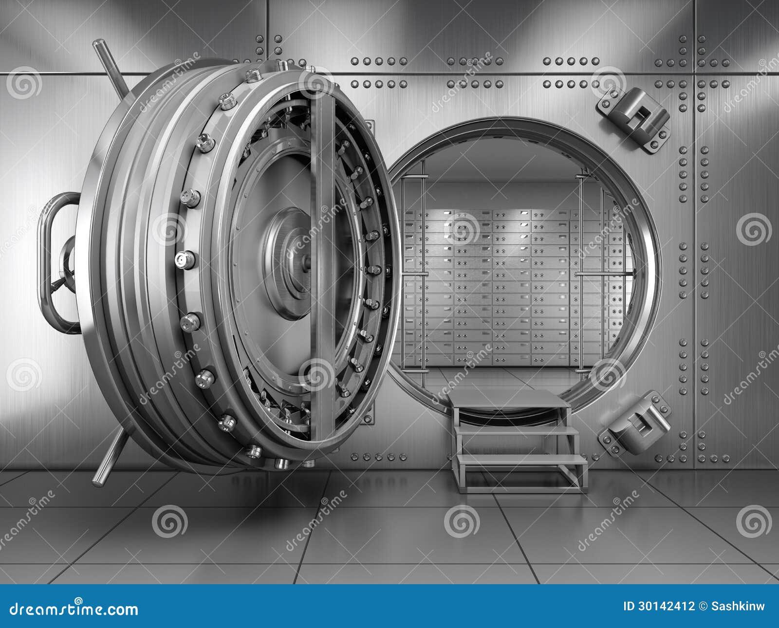 De Open Deur Van De Kluis Van De Bank Stock Illustratie