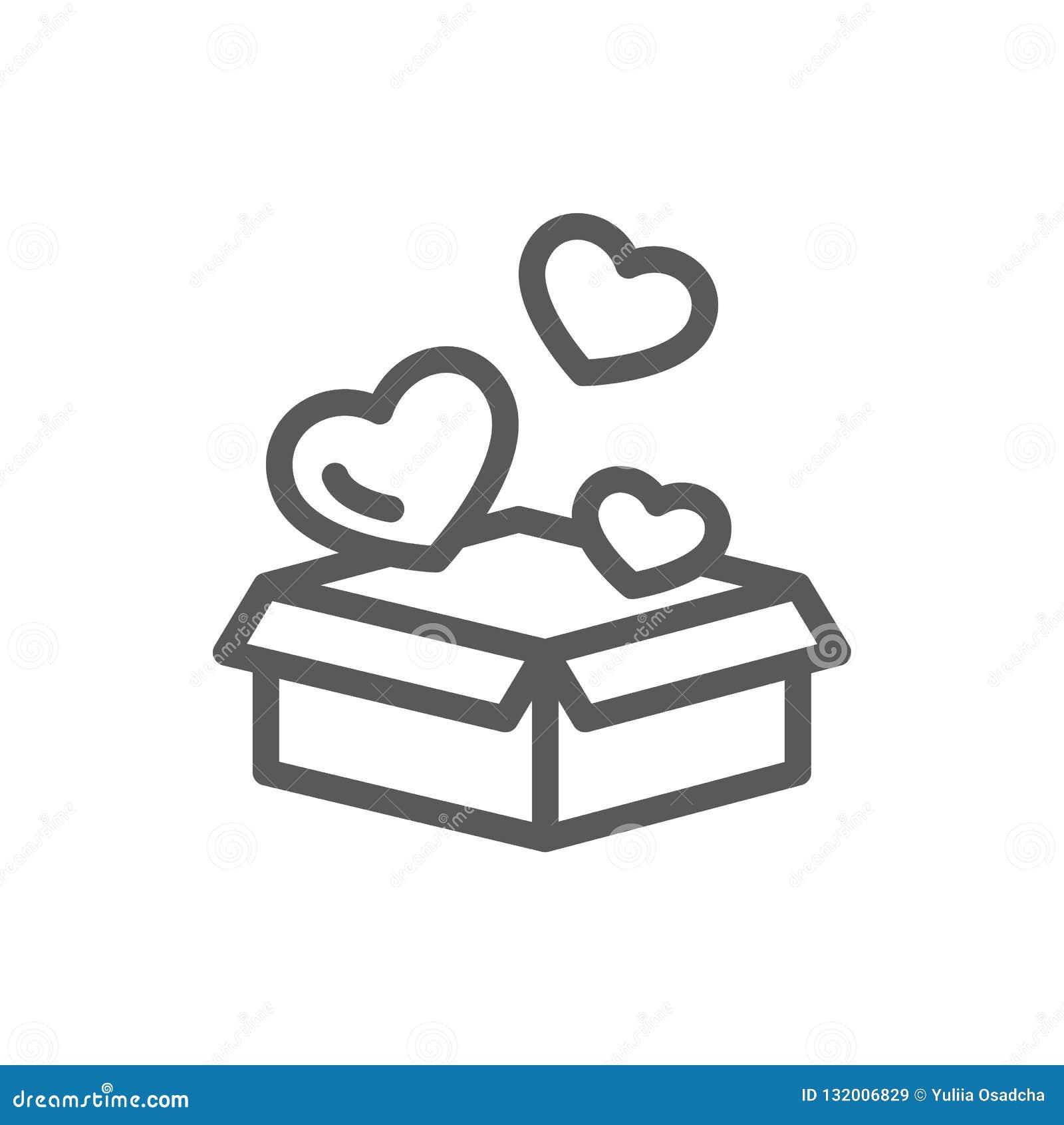 De open giftdoos met het vliegen van weinig hart vormt - romantisch verrassingsconcept in lijnpictogram met editable slag