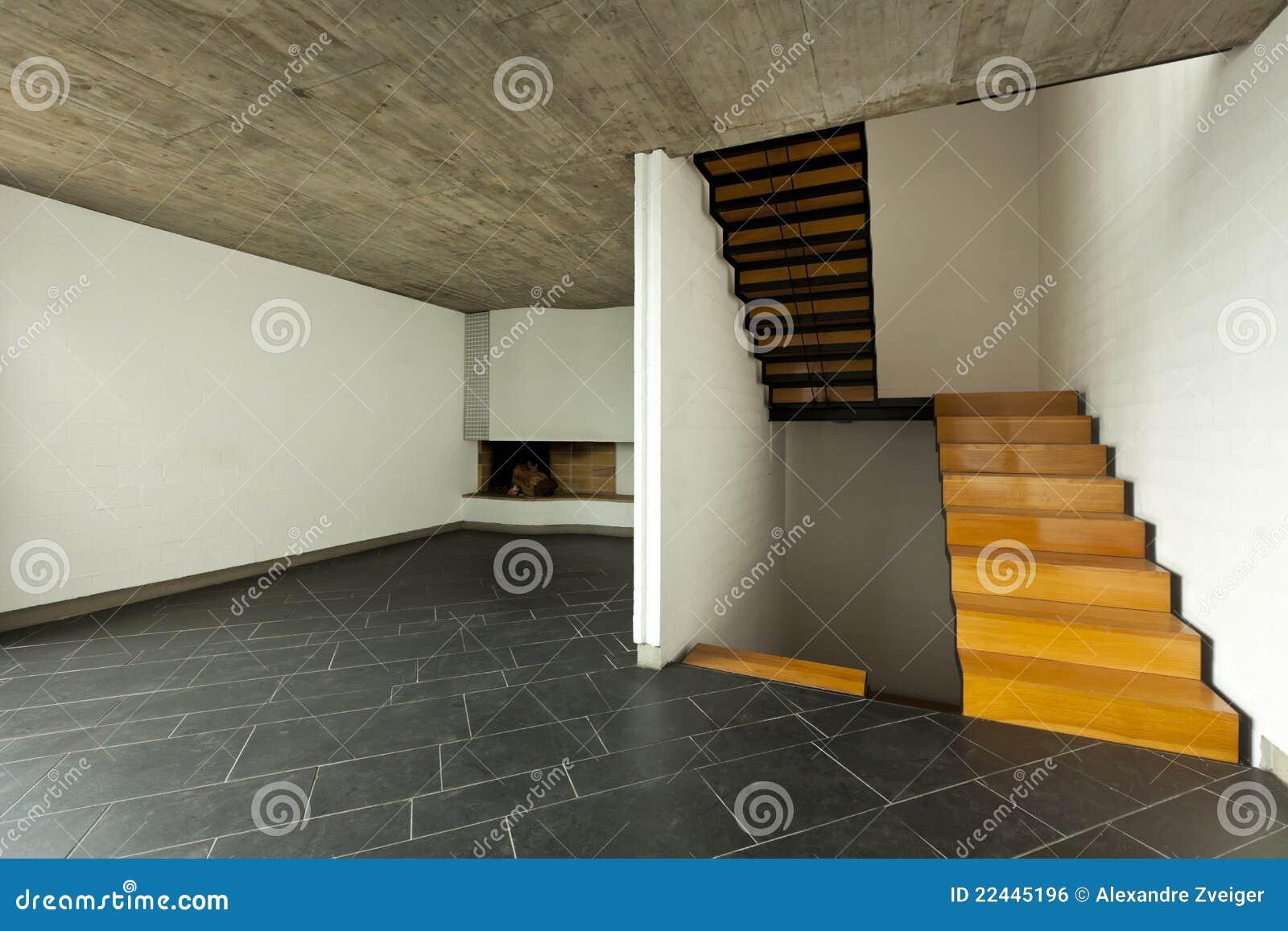 De open haard van de zaal en houten trap stock foto afbeelding 22445196 - Houten trap monteer ...