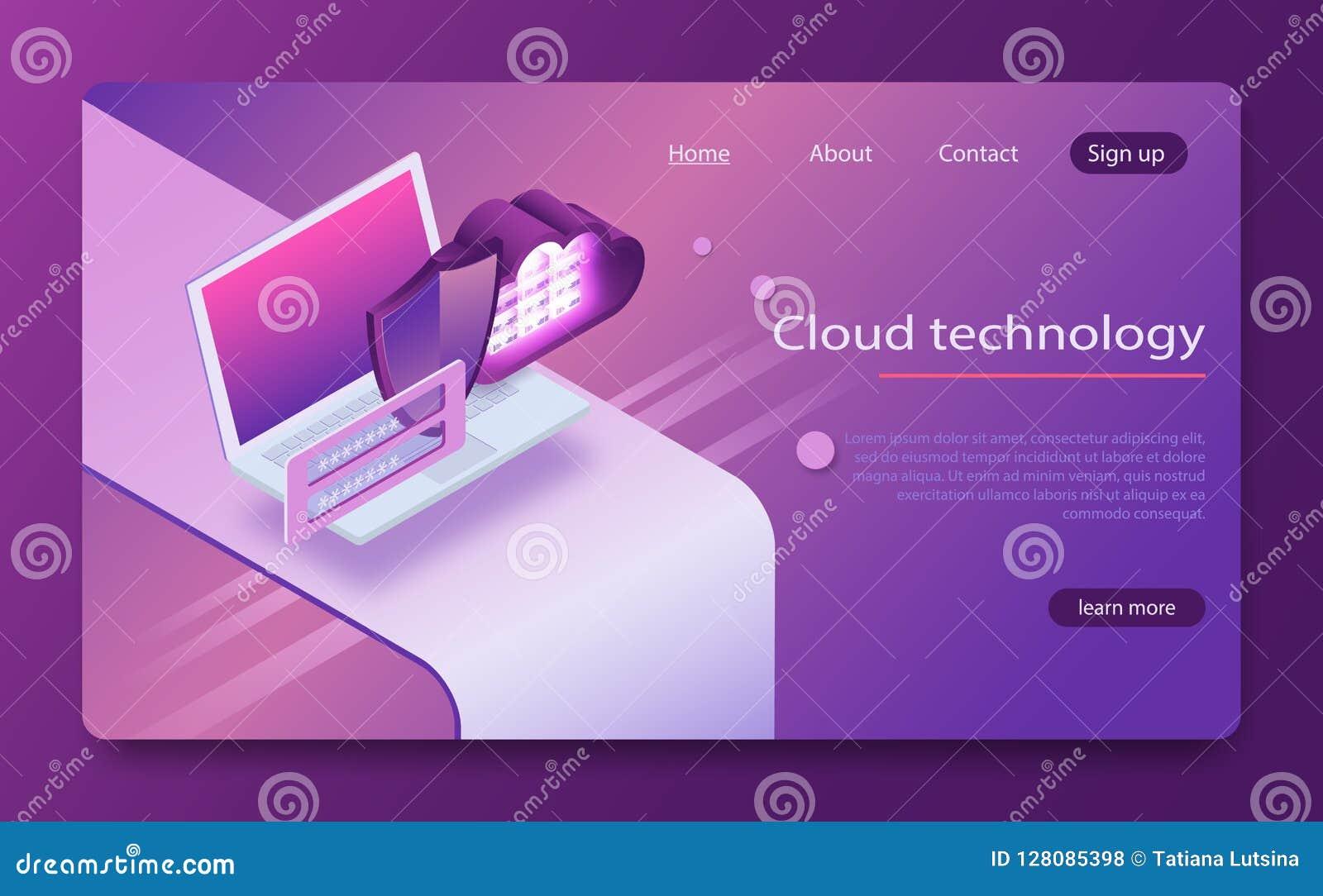 De opslag van de conceptenwolk Isometrische vector, Web het ontvangen en serverruimte wolk van het het conceptenlaptop en Web van