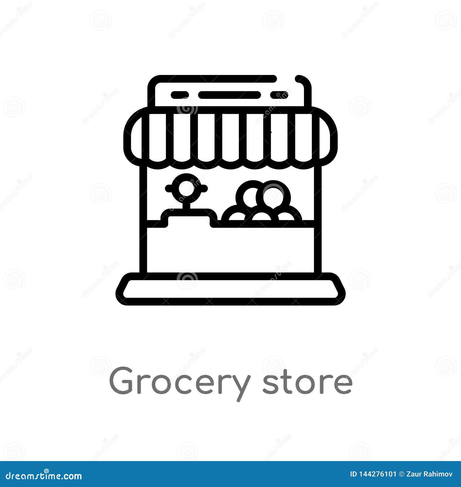 De opslag vectorpictogram van de overzichtskruidenierswinkel de ge?soleerde zwarte eenvoudige illustratie van het lijnelement van