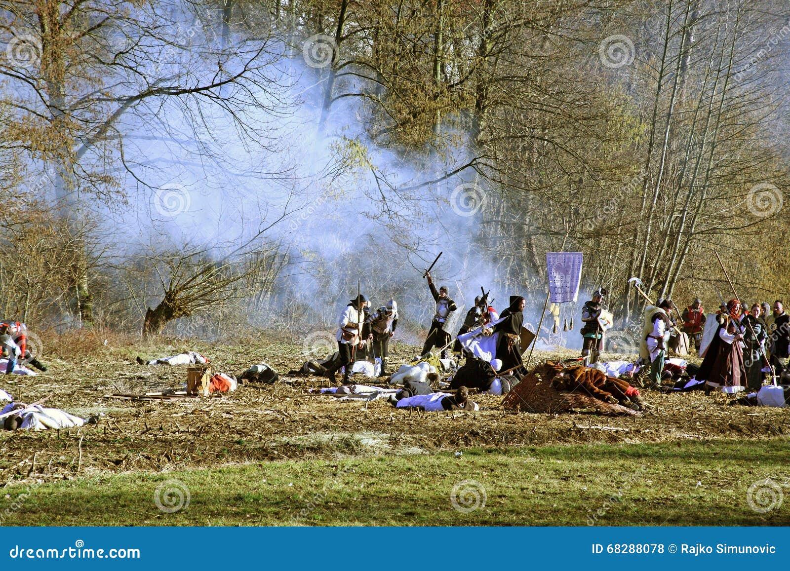 De opstand a van boeren D 1573 , het weer invoeren van de definitieve slag, strijd, 24, Stubica, Kroatië, 2016