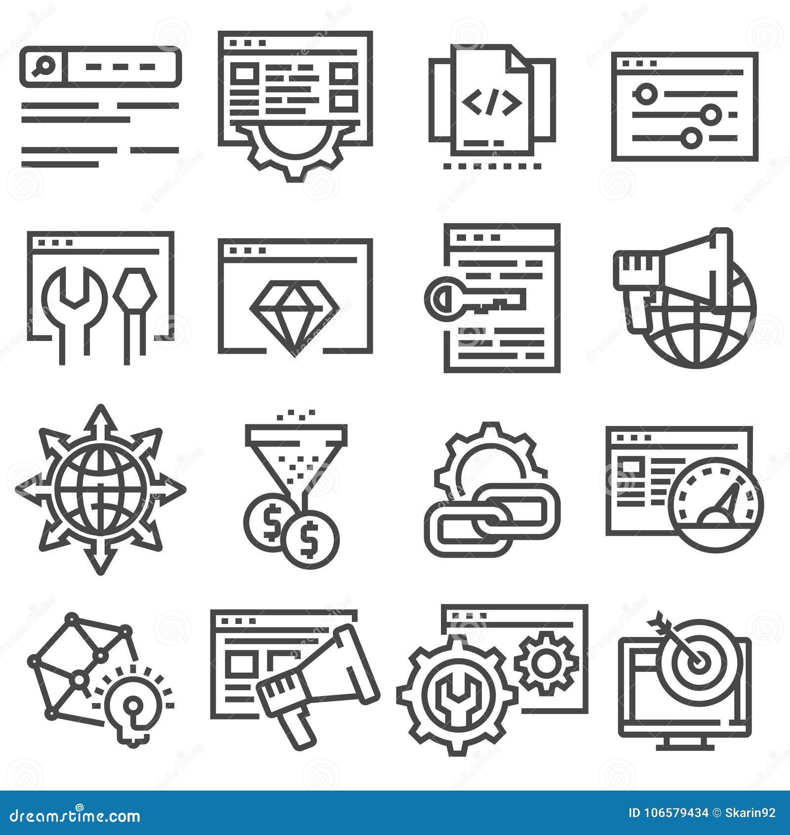 De optimalisering en de marketing van SEO dunne geplaatste lijnpictogrammen