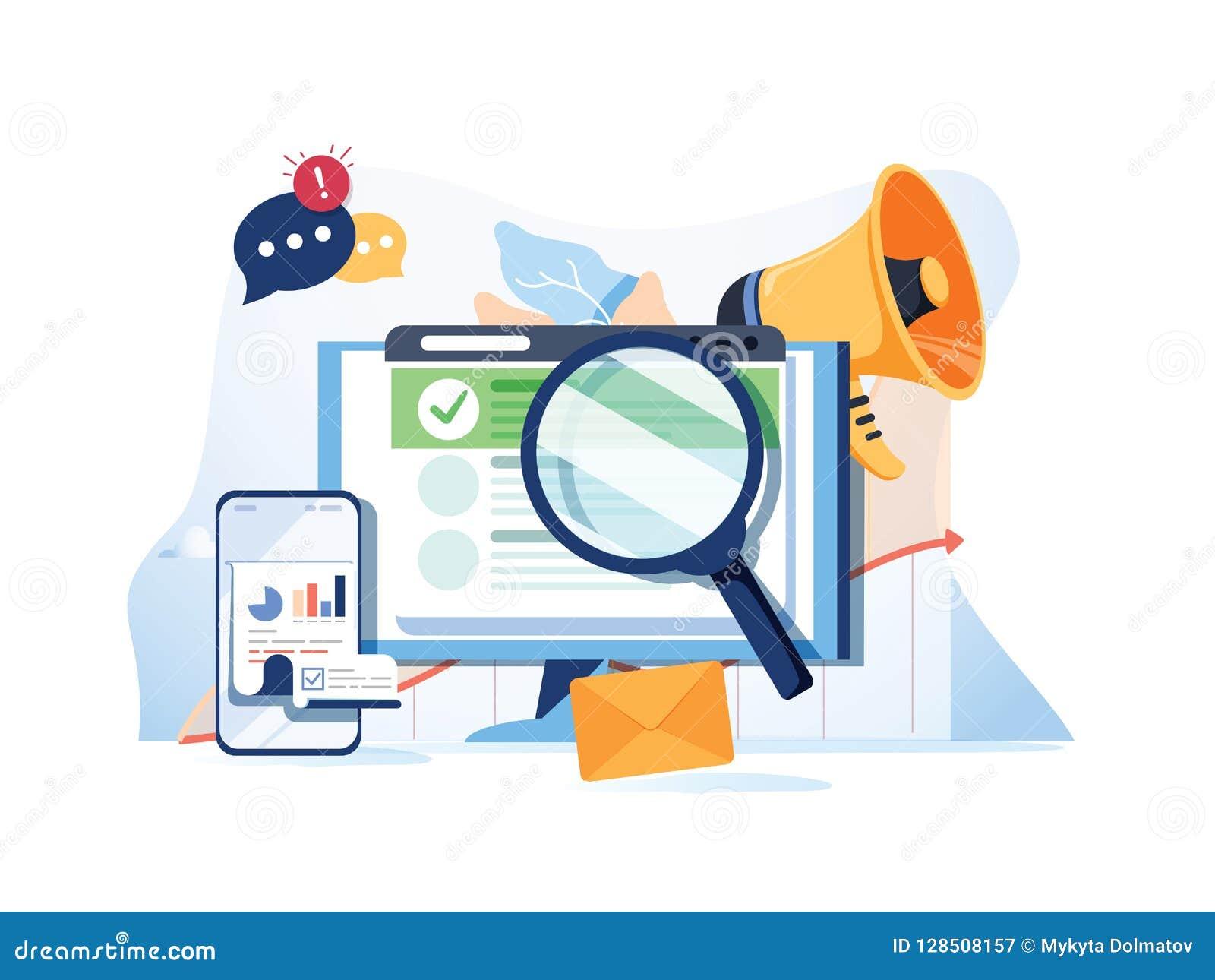 De optimalisering SEO van het onderzoeksresultaat marketing analytics vlakke vectorbanner met pictogrammen SEO-prestaties, het ri