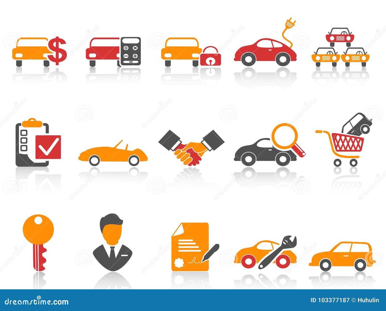 De oranjerode geplaatste pictogrammen van de de autohandelaar van de kleurenreeks