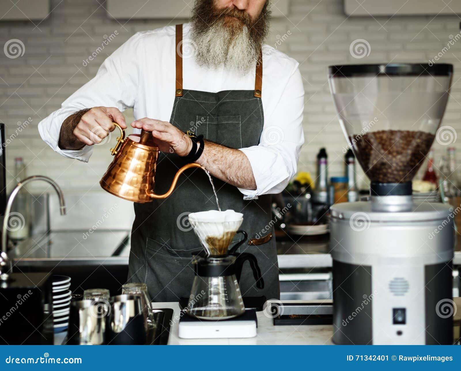 De Ordeconcept van Baristaprepare coffee working