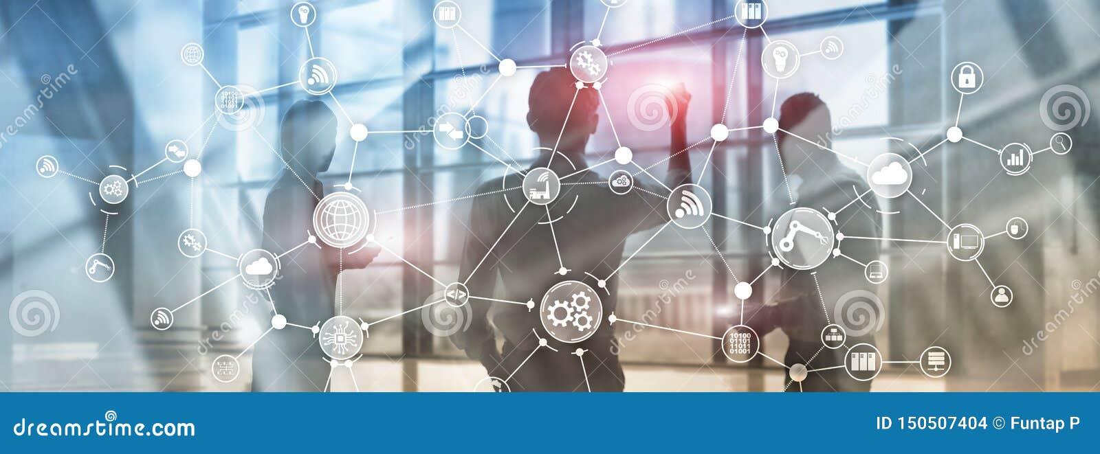 De organisatiestructuur technologie industri?le van het bedrijfsproceswerkschema op het virtuele scherm Slimme de industrieconcep