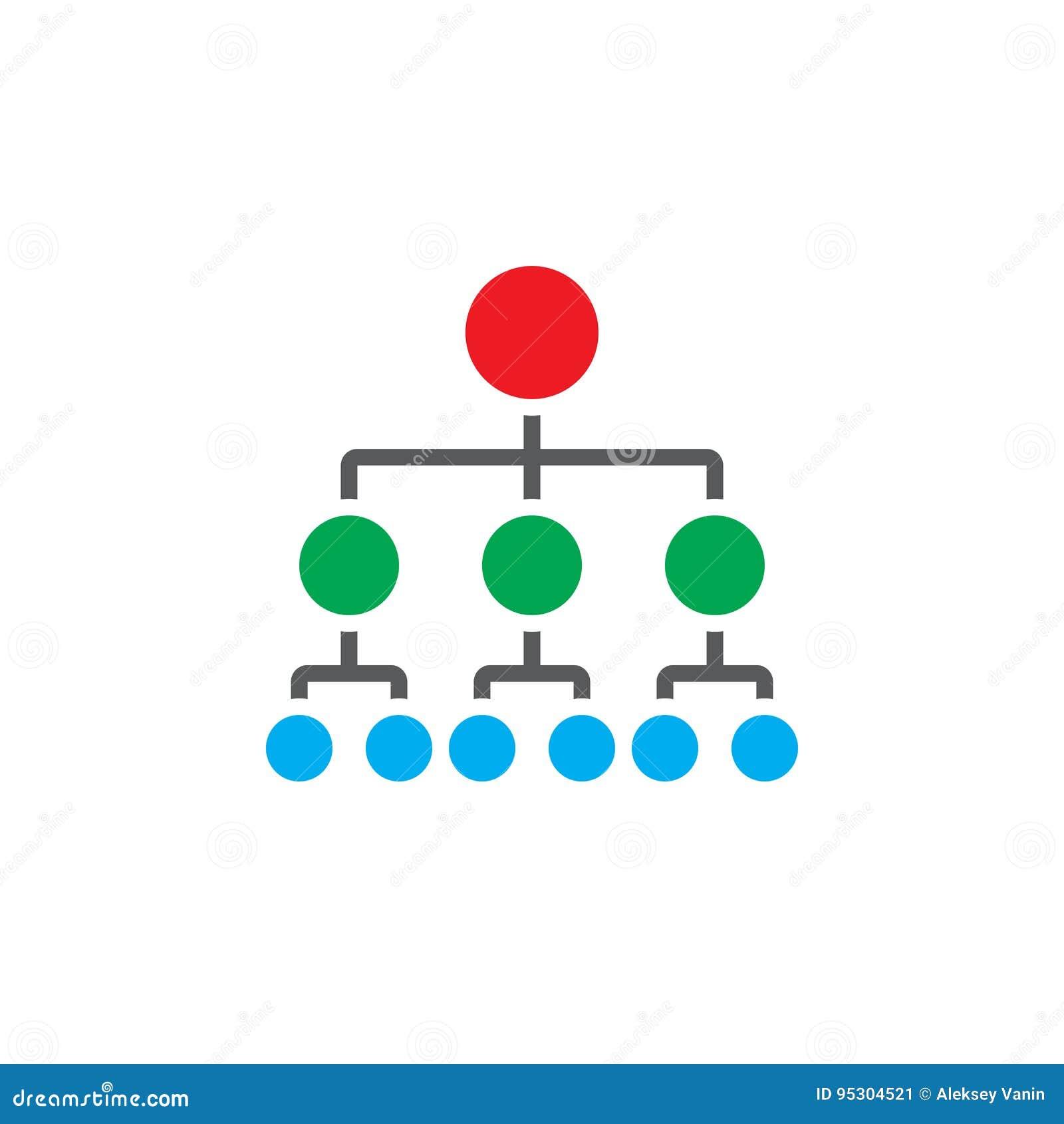 De organisatorische vector van het grafiekpictogram, hiërarchie stevig embleem