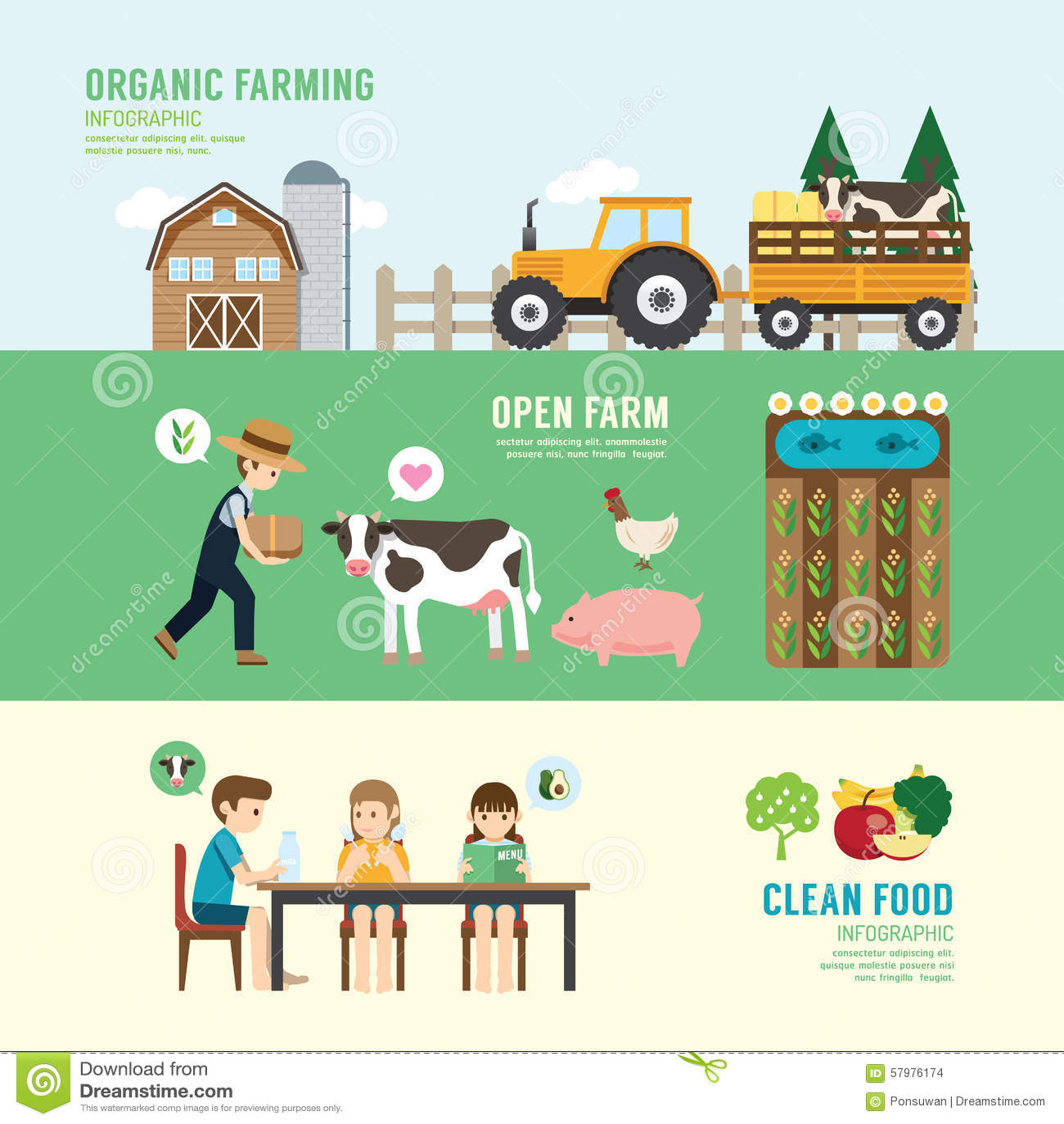 De organische Schone mensen van het het ontwerpconcept van de Voedsel Goede Gezondheid geplaatst landbouwbedrijf