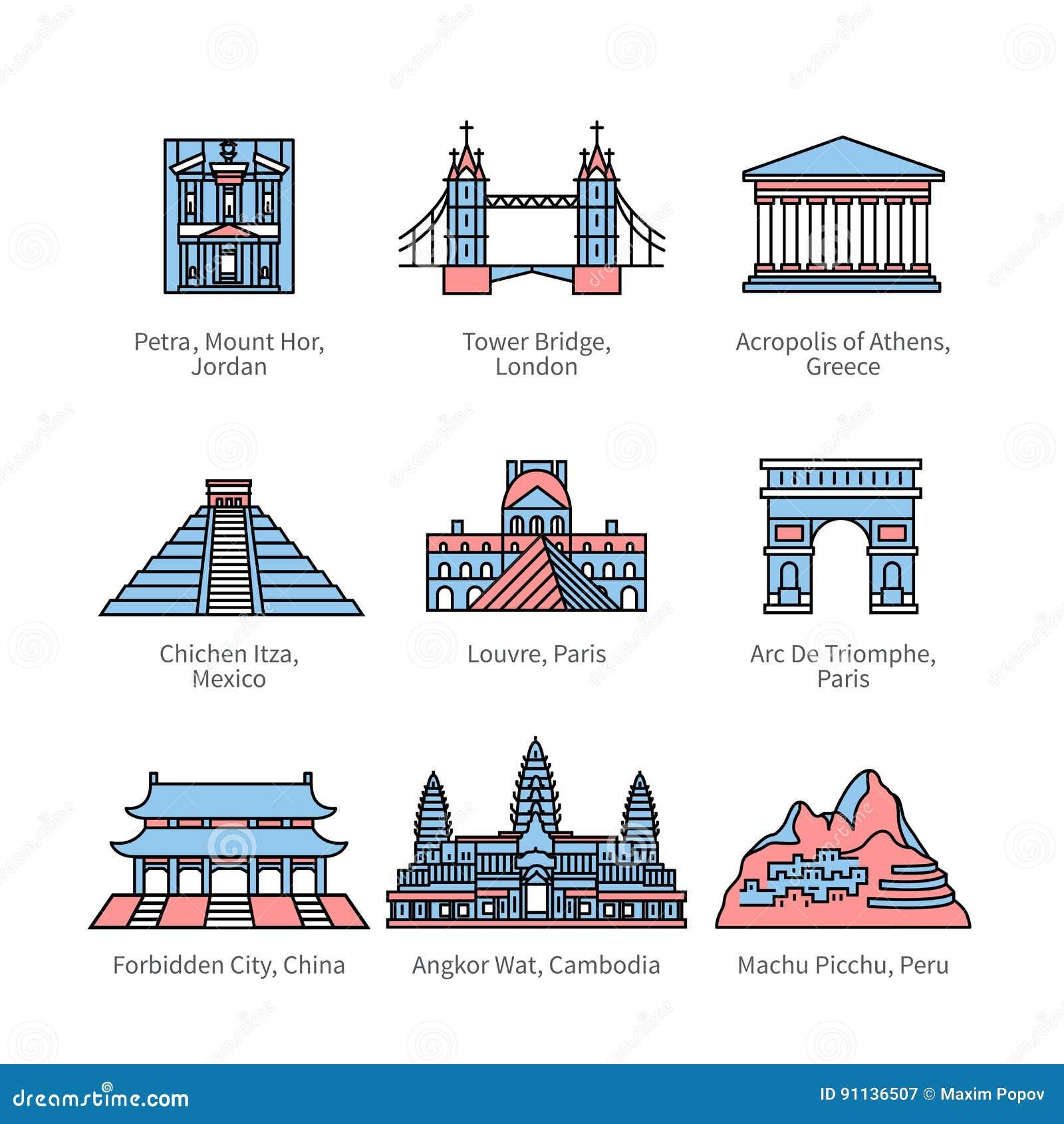 De oriëntatiepunten van de stadsreis van Europa, Azië en Amerika