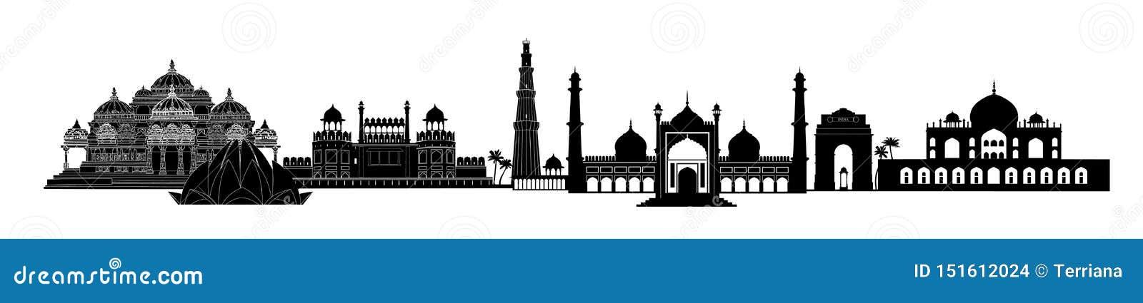De oriëntatiepunten van India, Delhi De Indische mening van de de reishorizon van stadsnew delhi