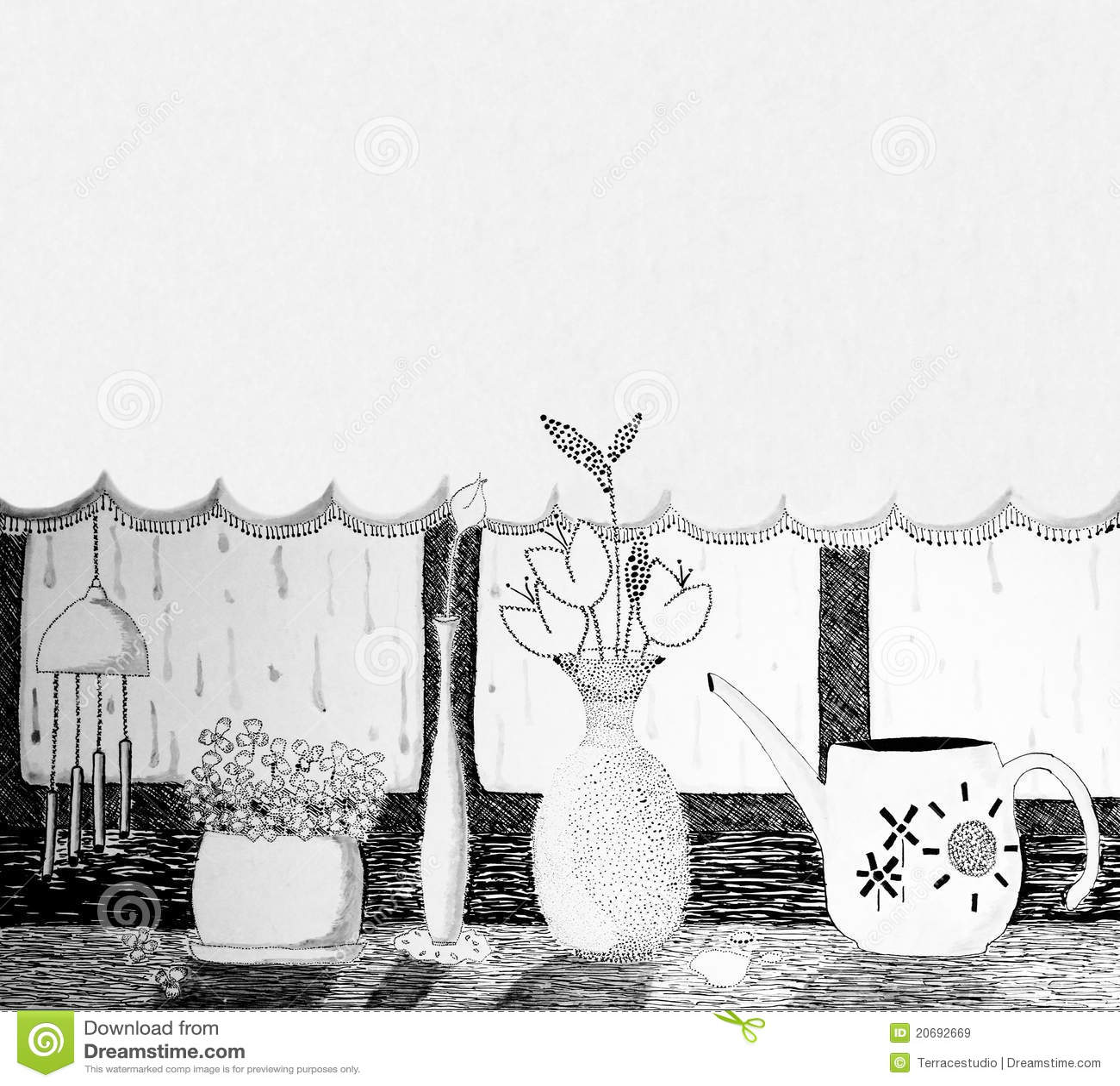 De originele inkt van de mening van het venster van het kunstwerk royalty vrije stock - Origineel tuin idee ...