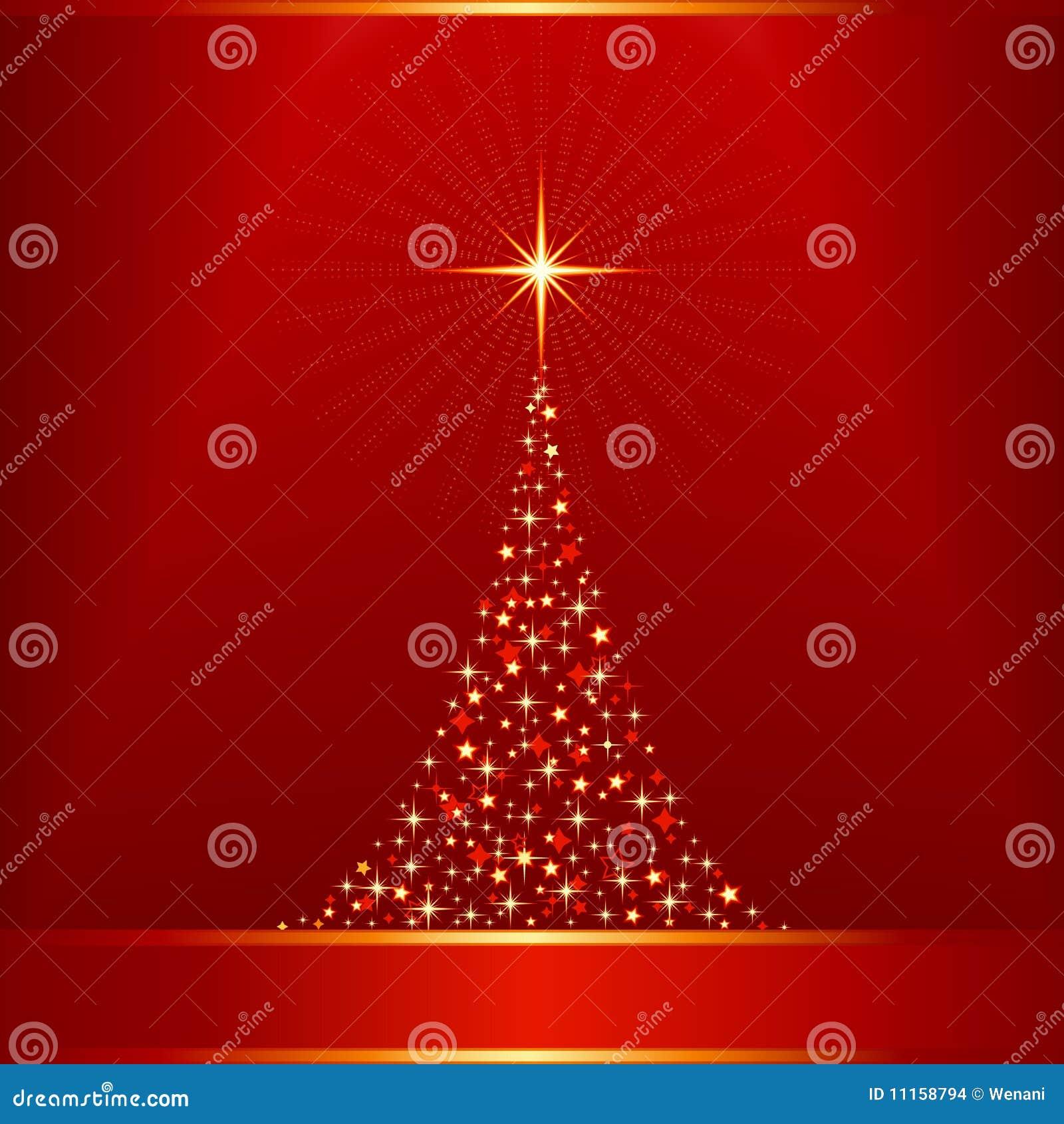 De oro rojo con el árbol de navidad y el reno