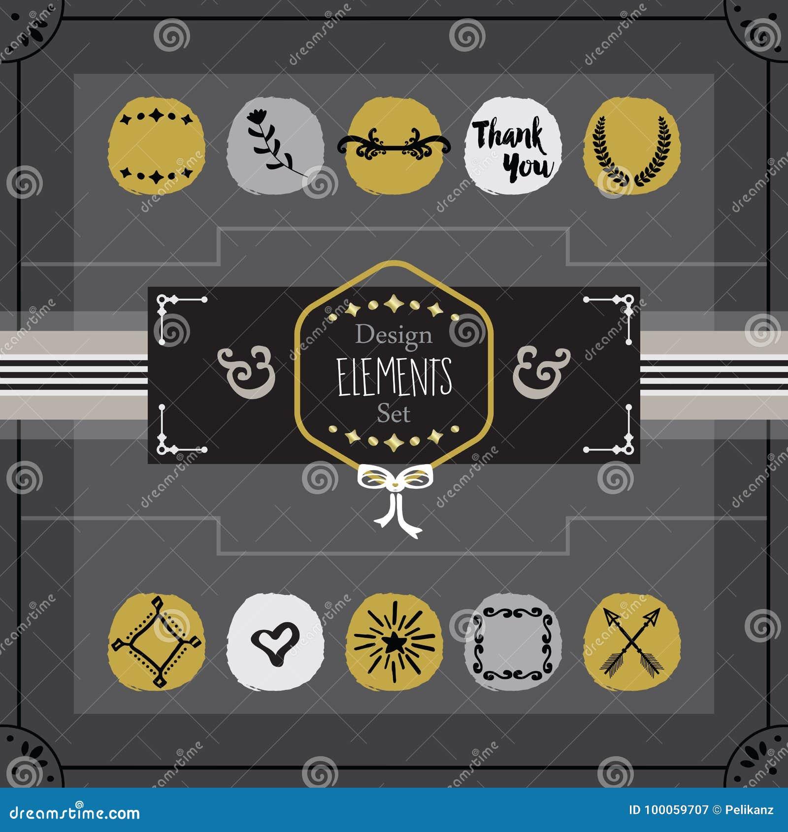 De oro y gris simboliza el sistema de elementos del diseño de tarjeta