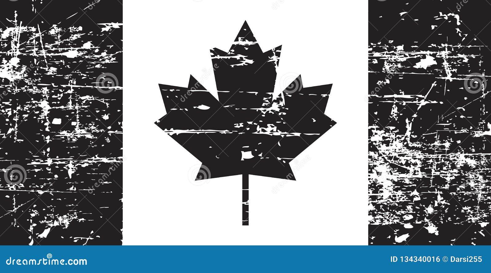 De oude die vlag van Canada grunge, zwarte op witte achtergrond, illustratie wordt geïsoleerd