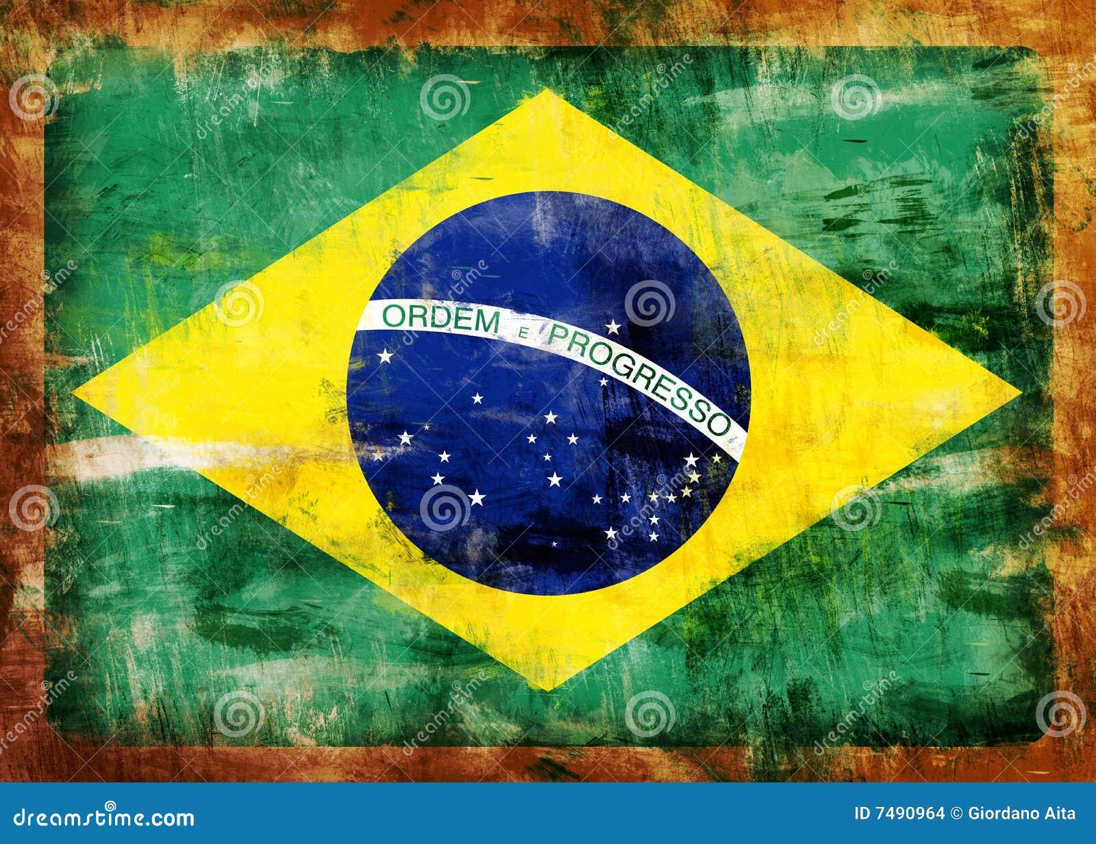 De Oude Geschilderde Vlag Van Brazili 235 Stock Afbeeldingen