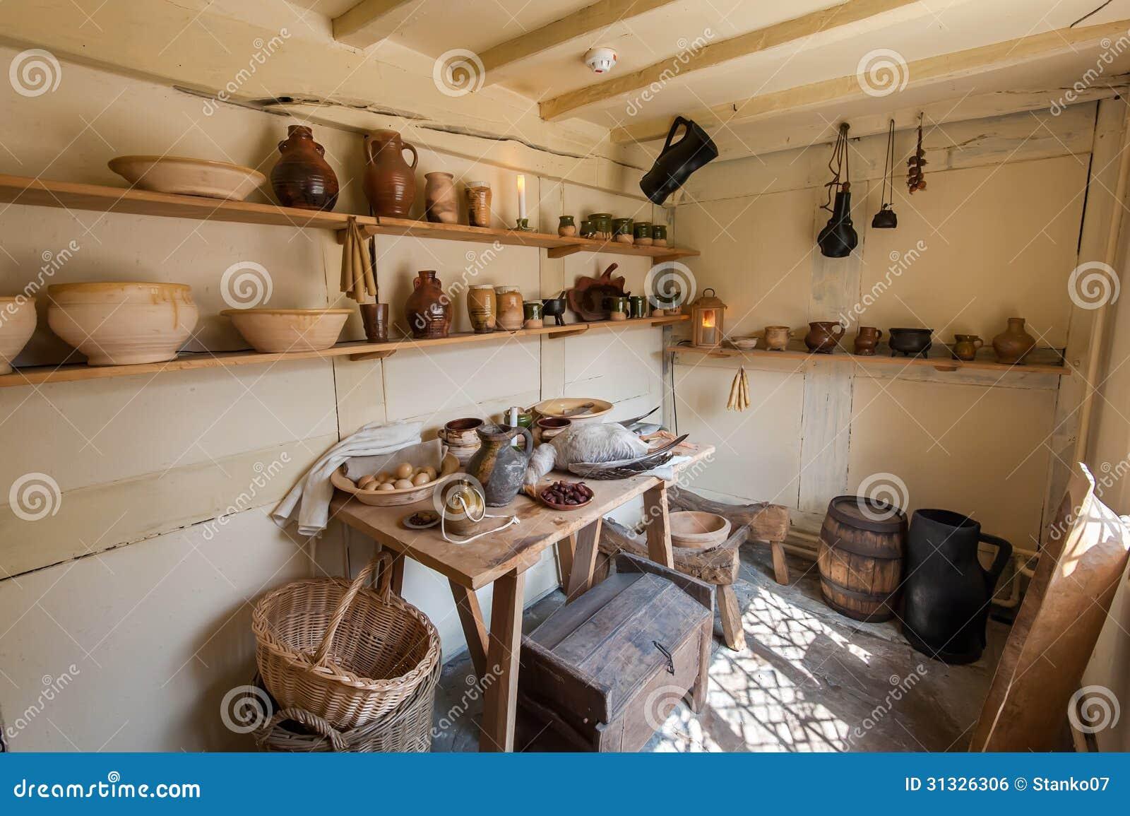 De oude keuken van het land stock foto afbeelding bestaande uit