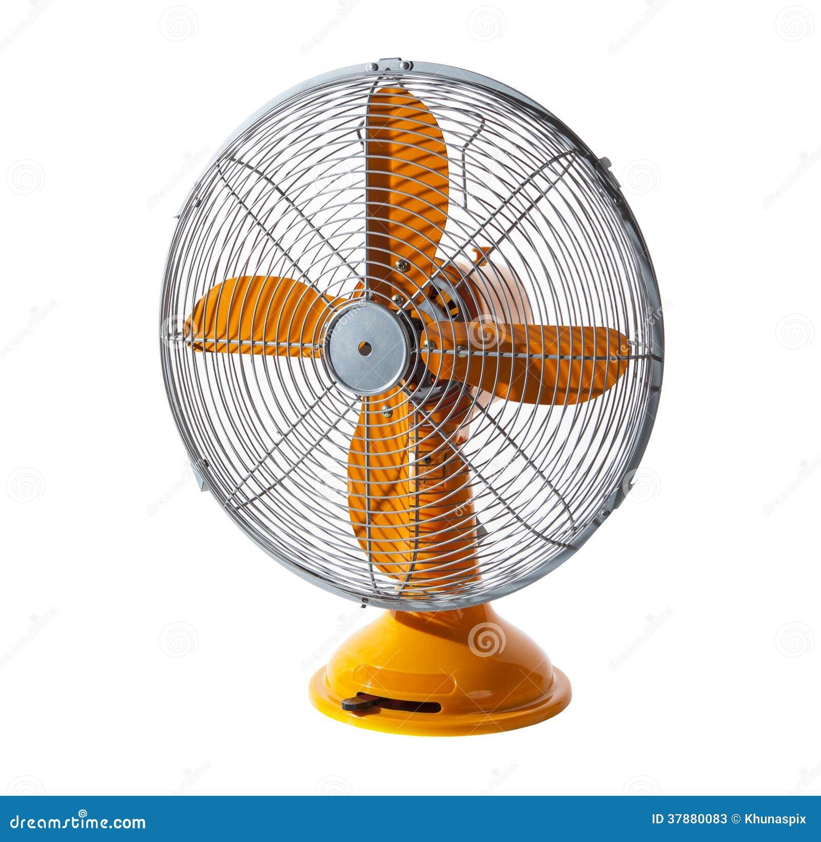De oude klassieke retro en uitstekende elektrische fan isoleerde witte backgr