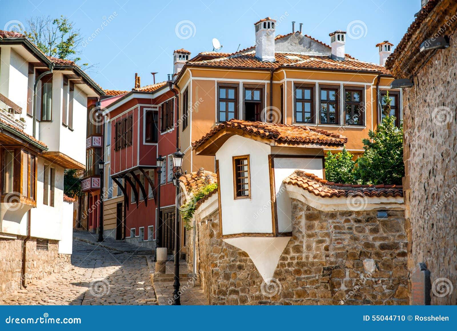 De oude mening van de stadsstraat in Plovdiv