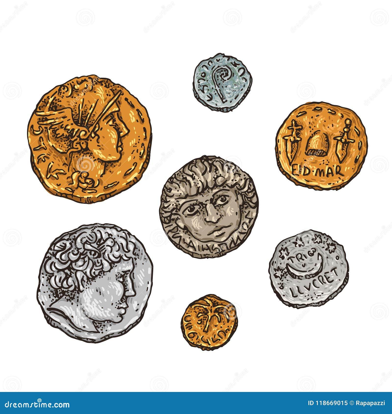 De oude muntstukken van Rome