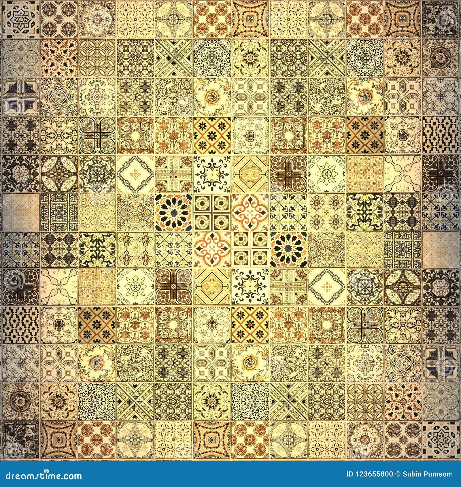 De oude patronen van muurkeramische tegels handcraft van
