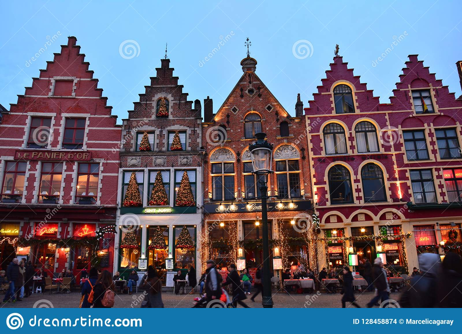 De oude Stad van Brugge in België voor Kerstmis