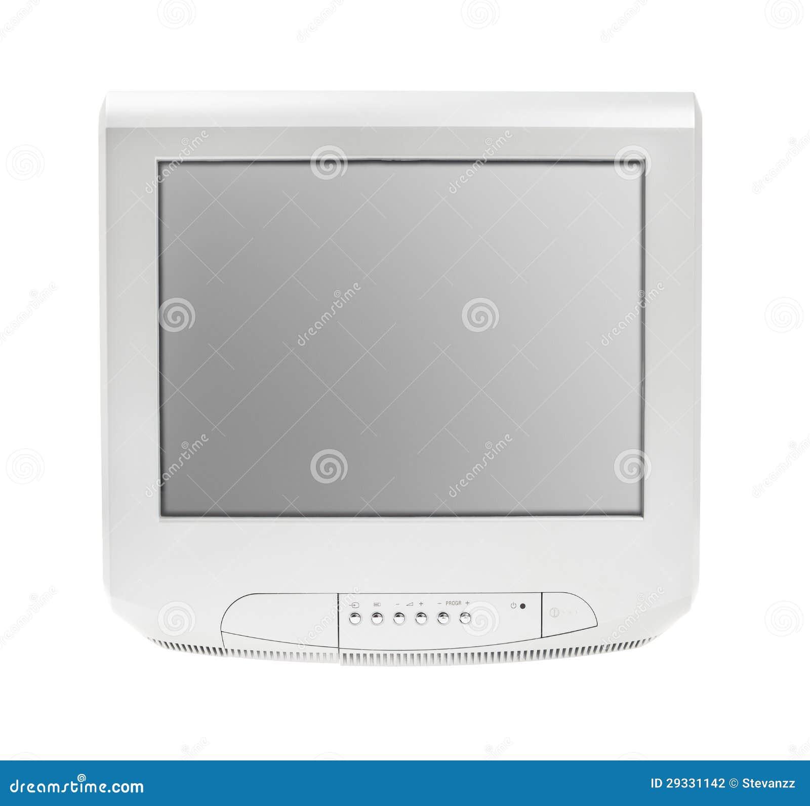 De oude Televisie of Vertoning van het Scherm van TV de grijze isoleerde witte achtergrond