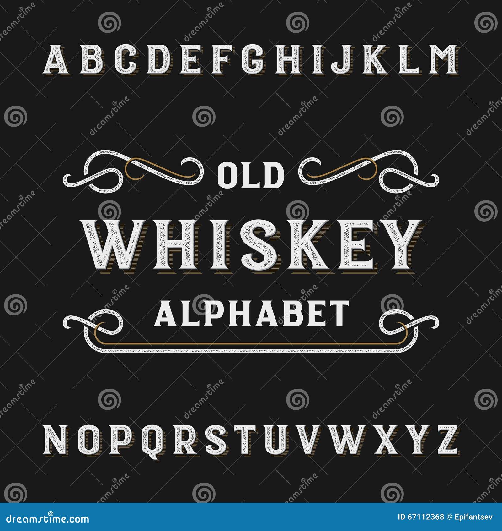 De oude vectordoopvont van het whiskyalfabet