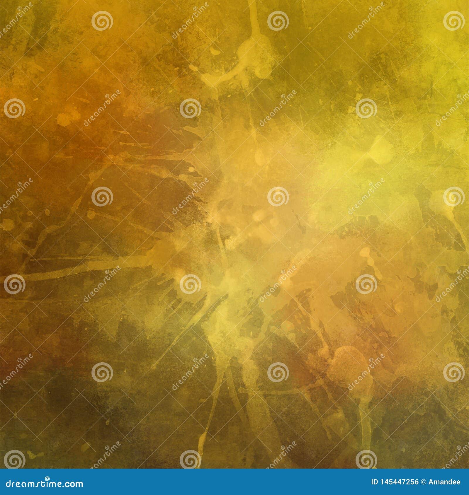 De oude verontruste uitstekende gouden achtergrond met verf bevlekt spatdruppels en dalingen met gebarsten grunge textuur