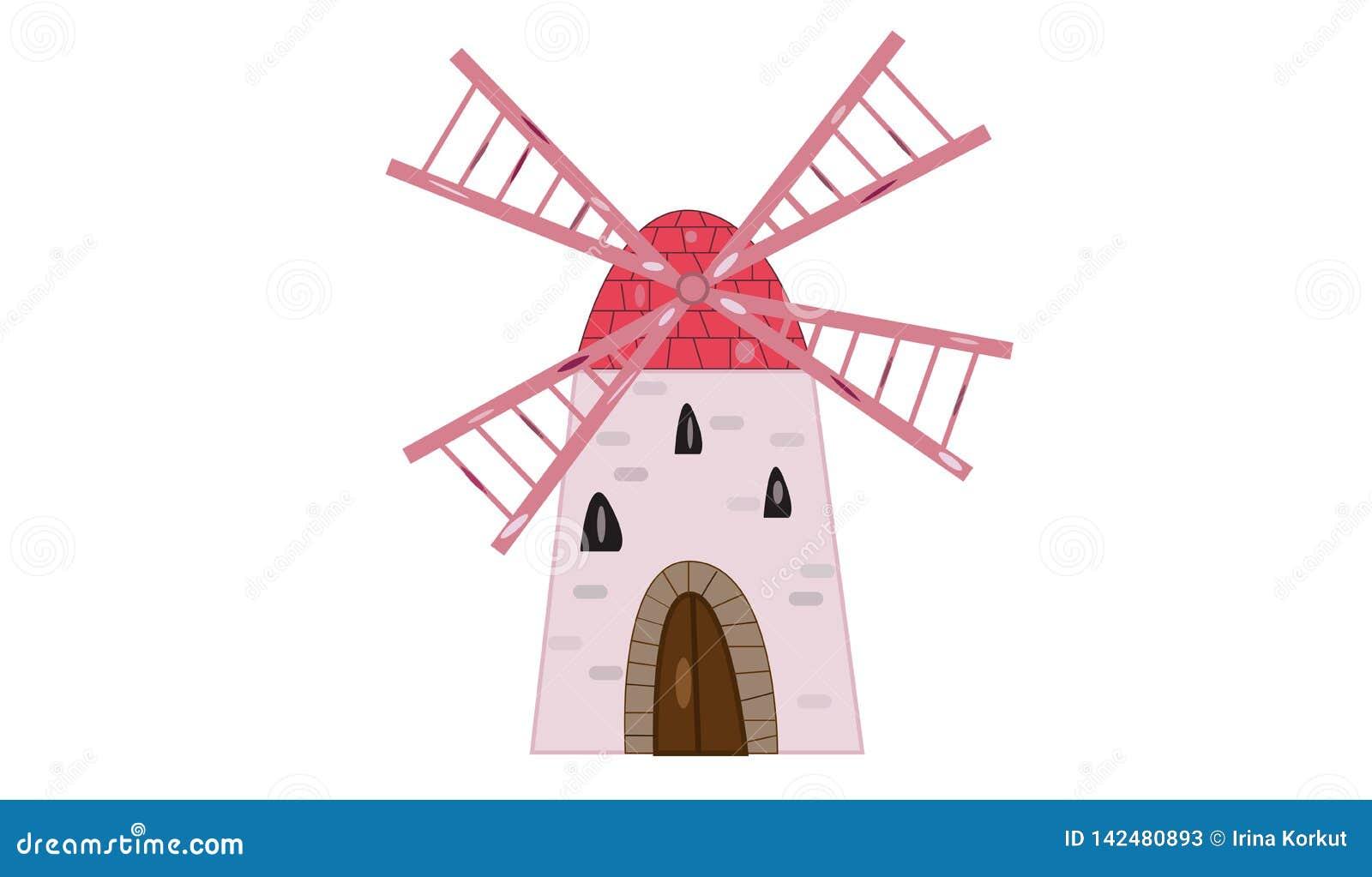 De oude windmolenillustratie isoleerde witte achtergrond en leuke roze vleugels en steendeur