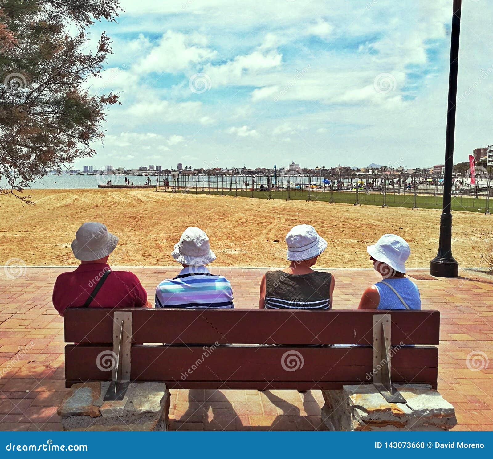 De oudere mensen die het overzees onder ogen zien zitten op bank