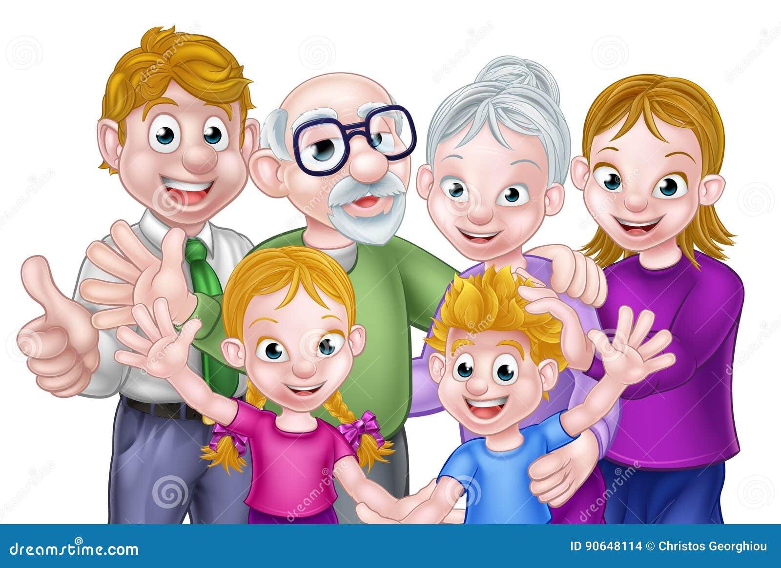 De Ouders en de Grootouders van beeldverhaaljonge geitjes