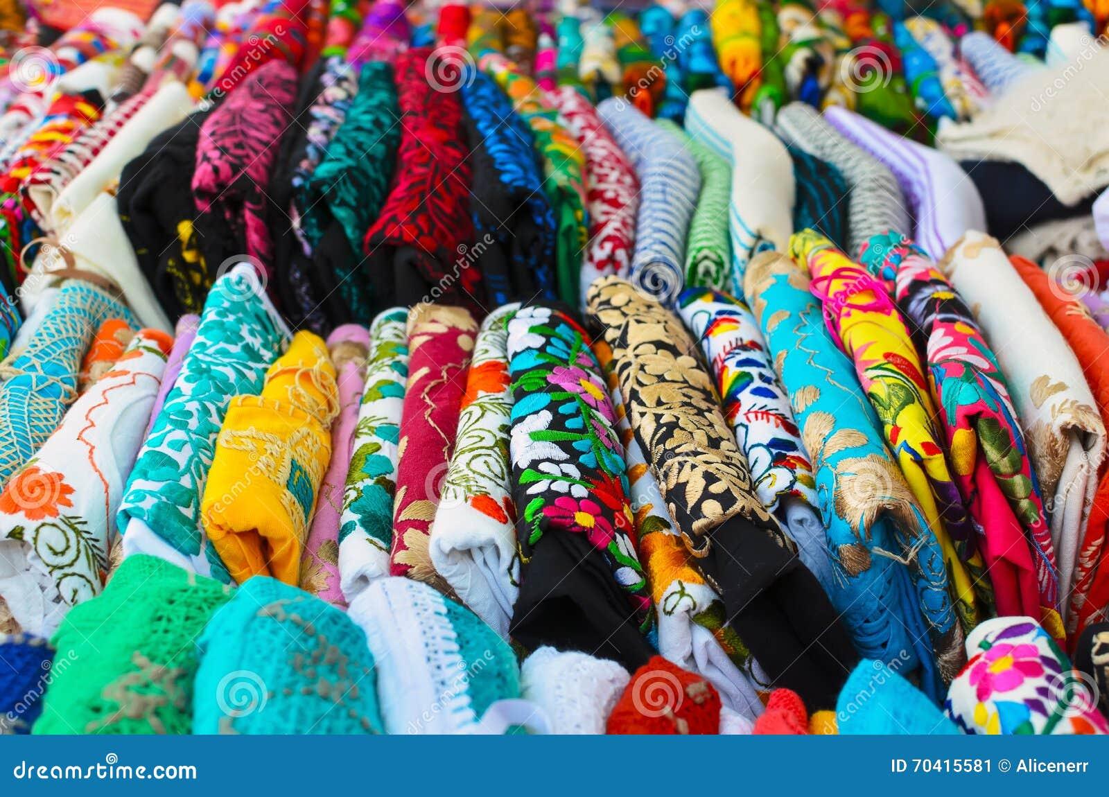 Gevouwen Mexicaanse Van Vrouwen Overhemden Kleurrijke Authentieke De 54A3jqcRL