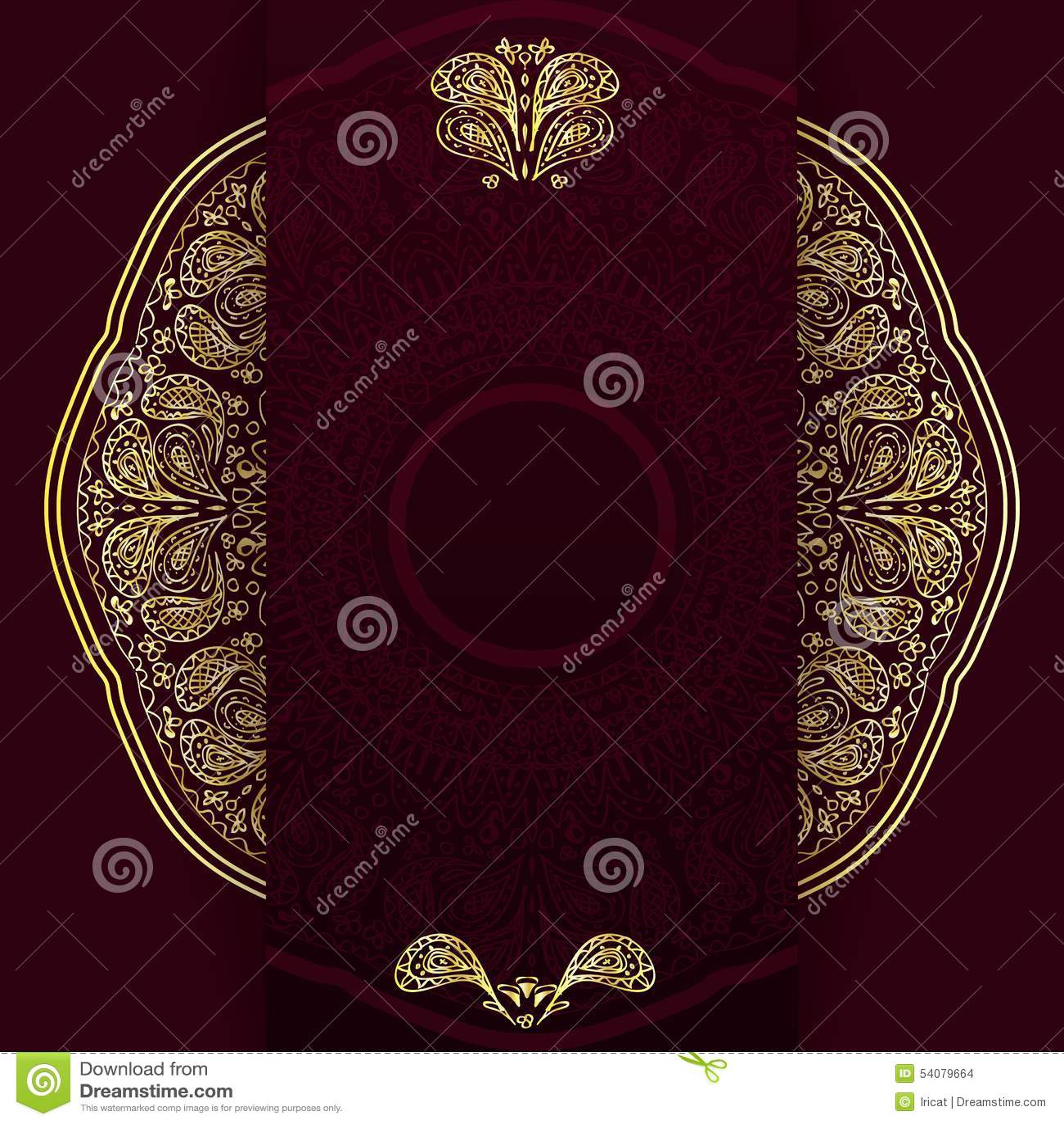 De overladen achtergrond van Bourgondië met gouden mandala Malplaatje voor menu, groetkaart, uitnodiging of dekking Vector illust