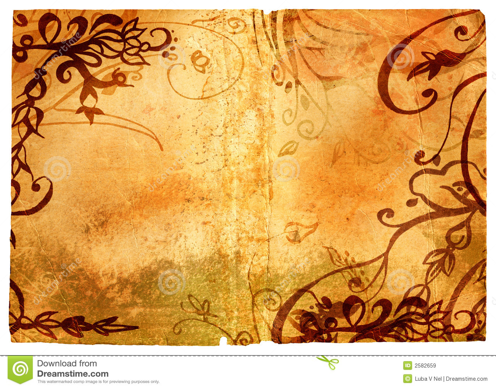 De pagina van Grunge met bloemengrens