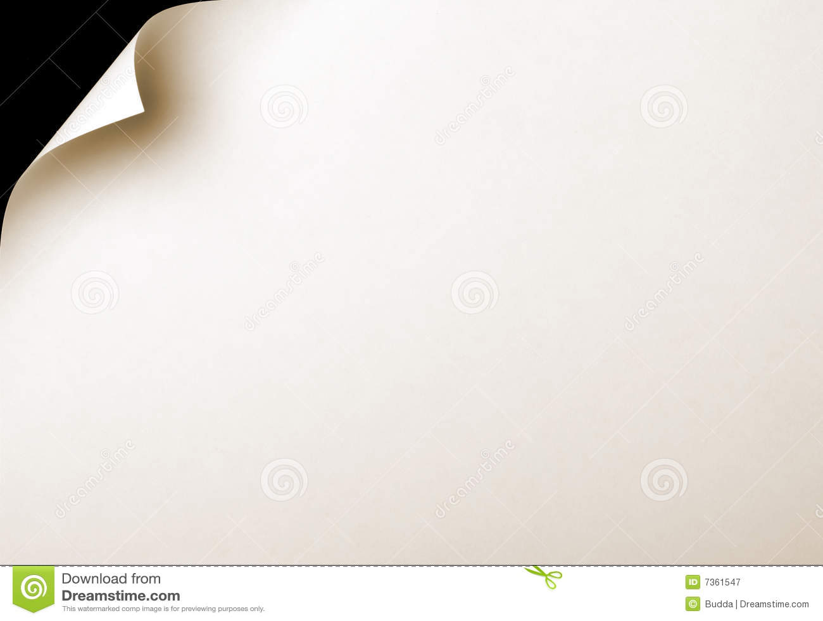 De pagina van het document met krul