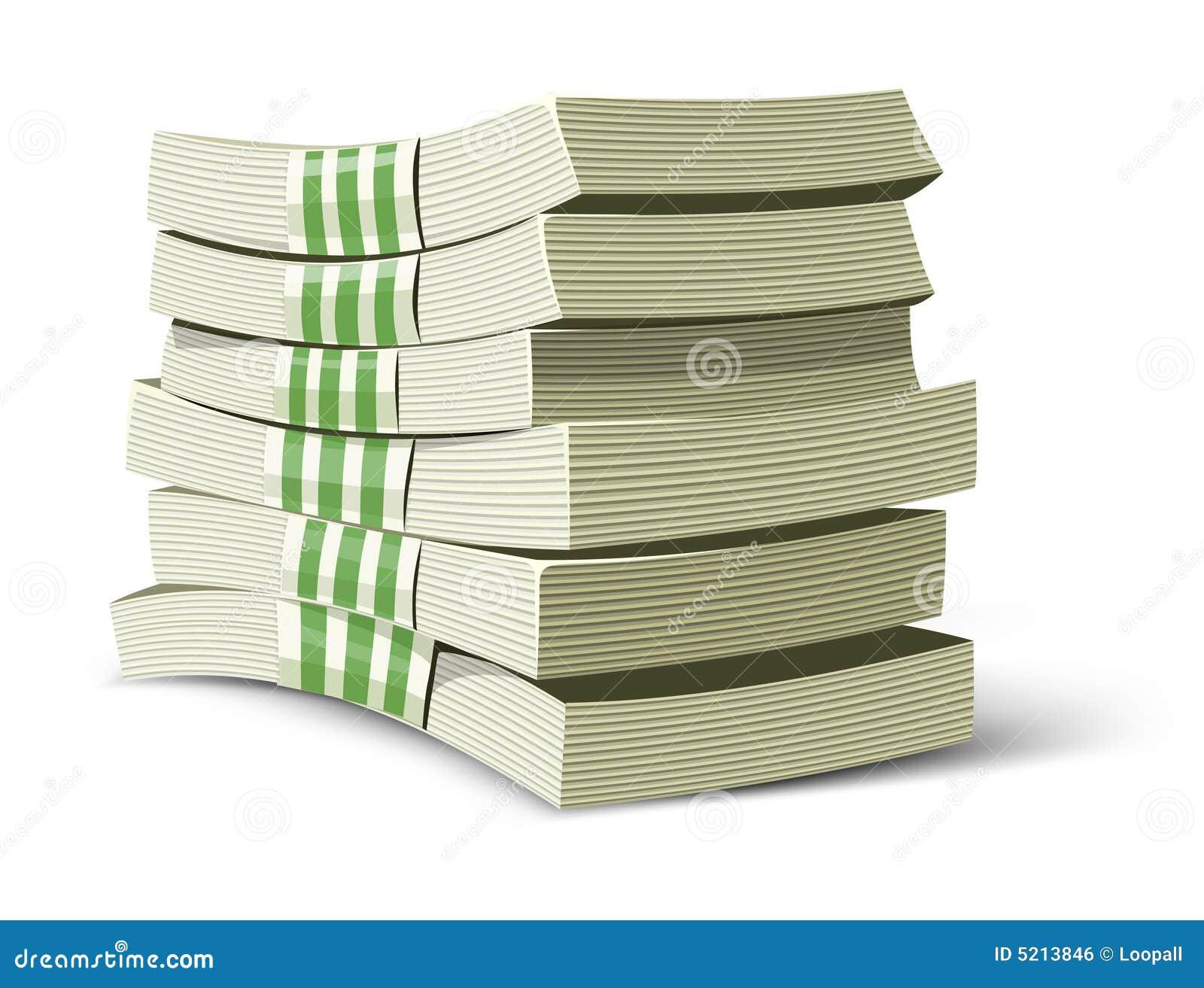 De pakken vectorillustratie van het geld voor bankwezen