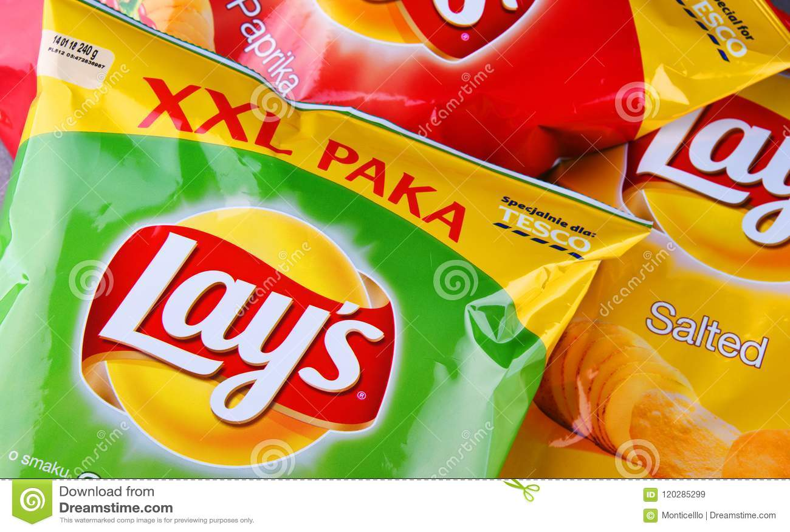 De pakketten van legt chips