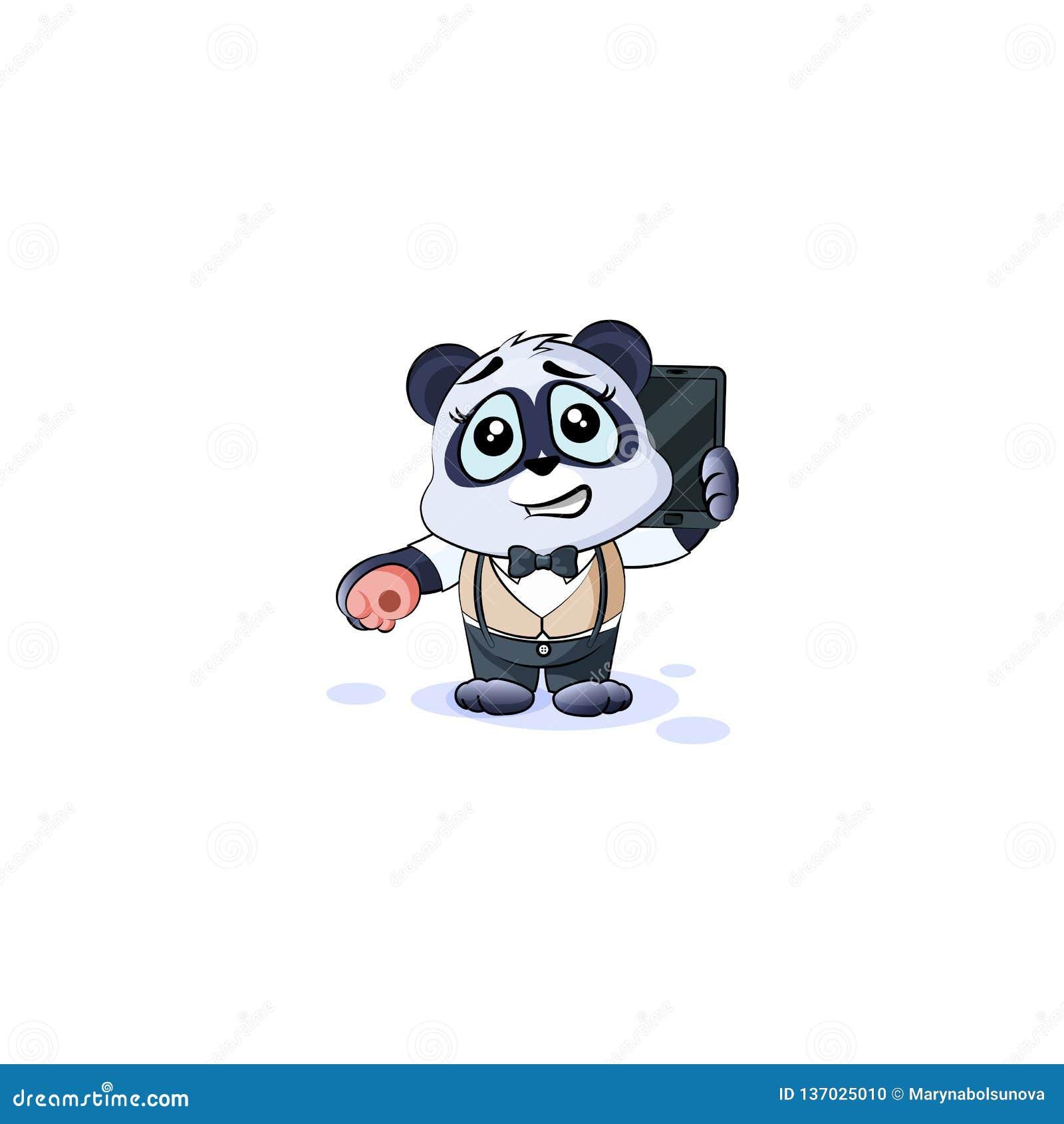 De panda draagt in pak met smartphone