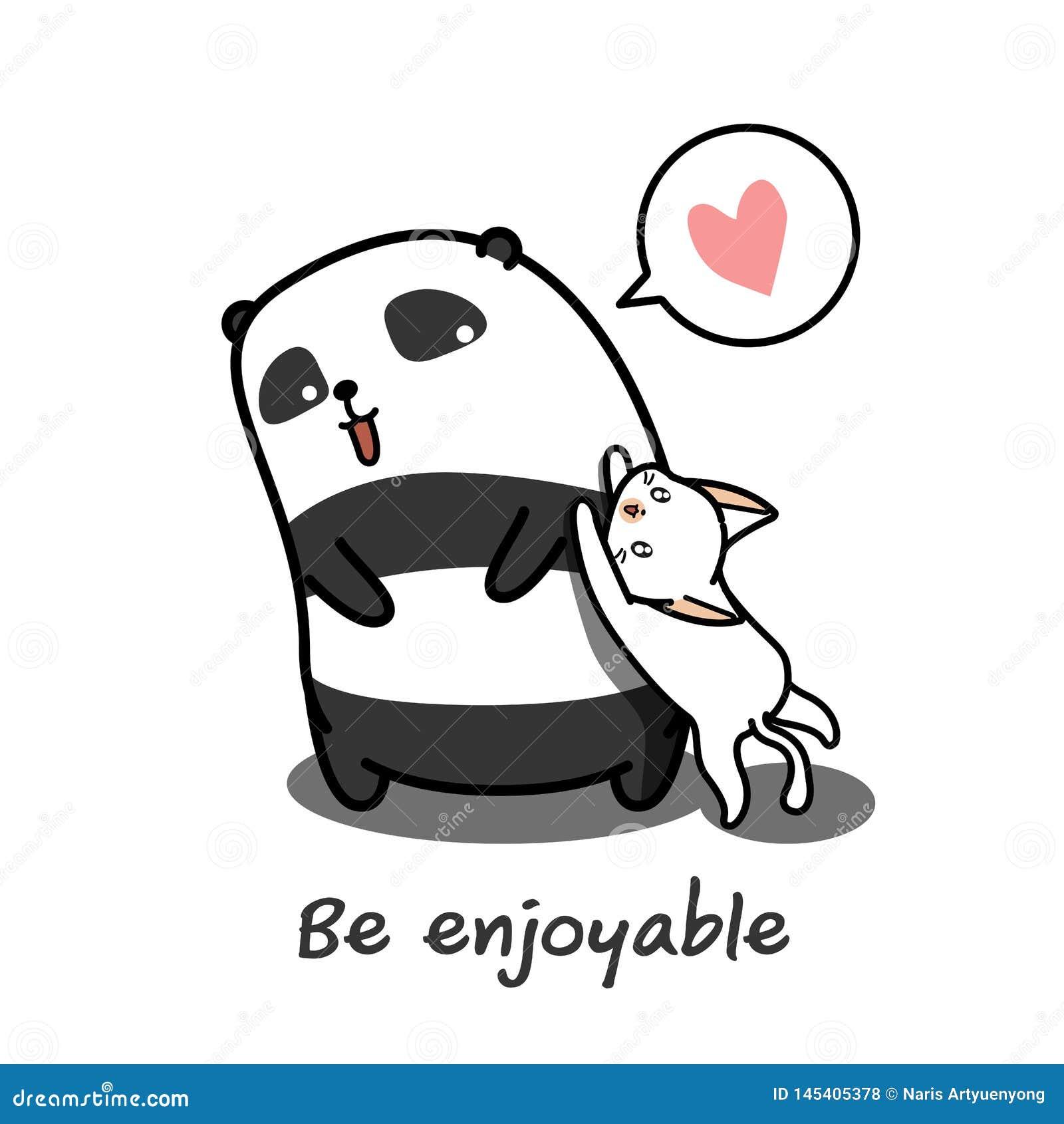 De panda speelt kat