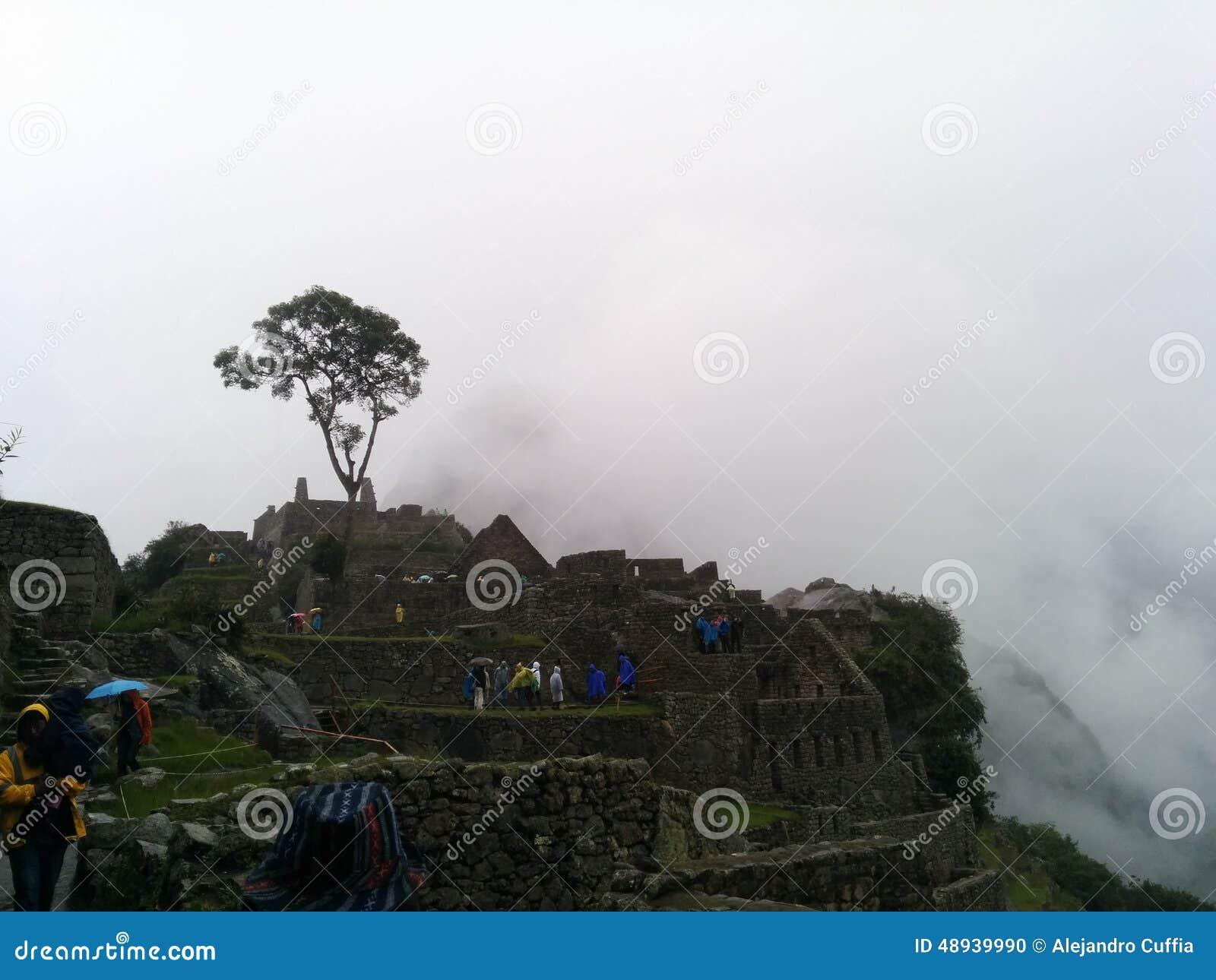 De panoramische mist van Machupicchu