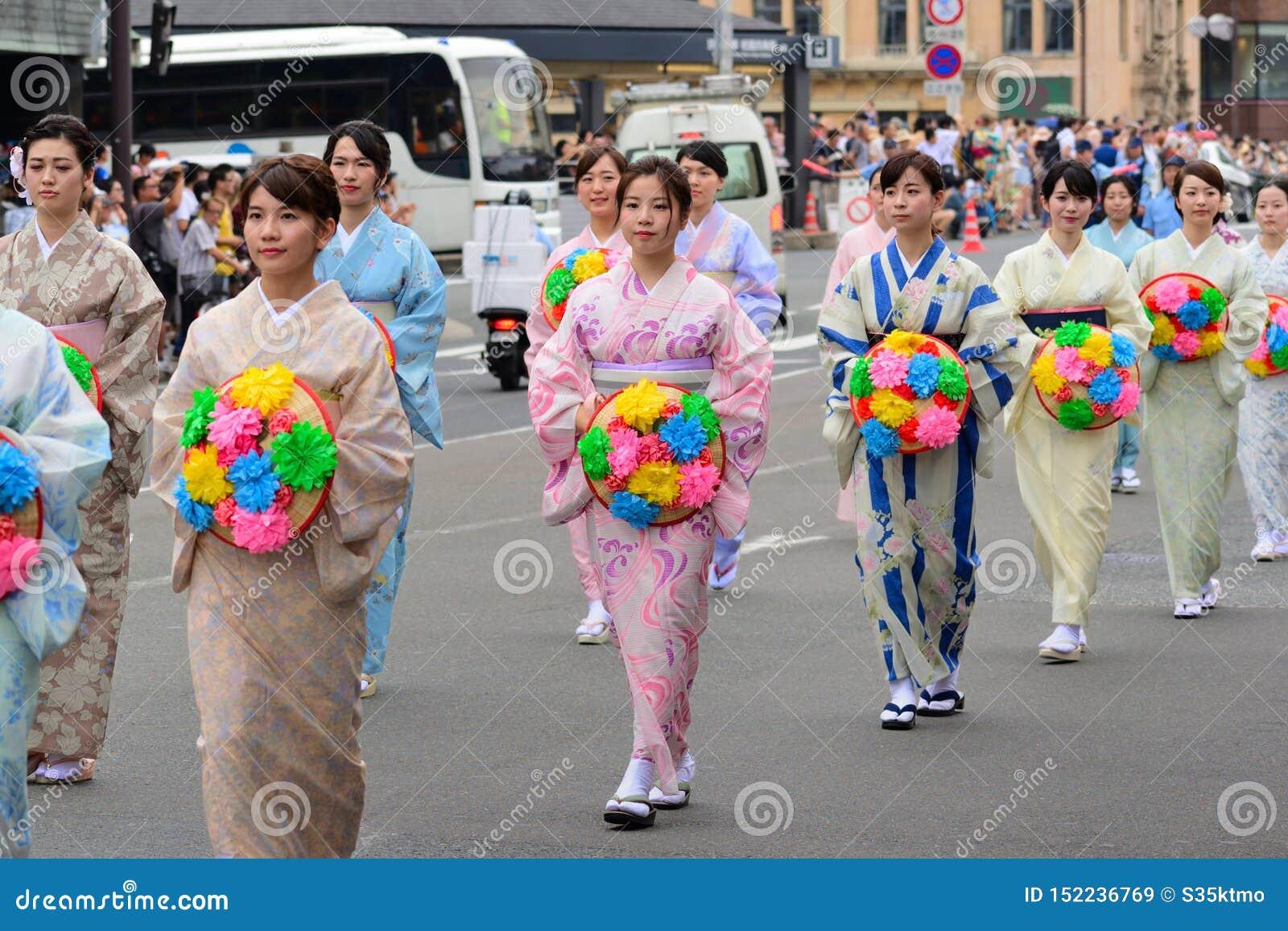 De parade van dames van Gion-festival, Kyoto Japan