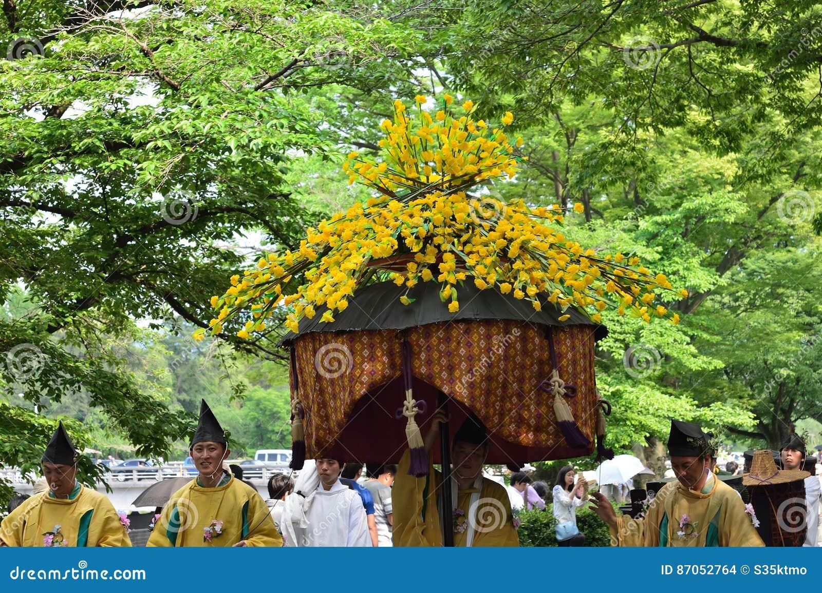 De parade van het festival van Kyoto Aoi, Japan