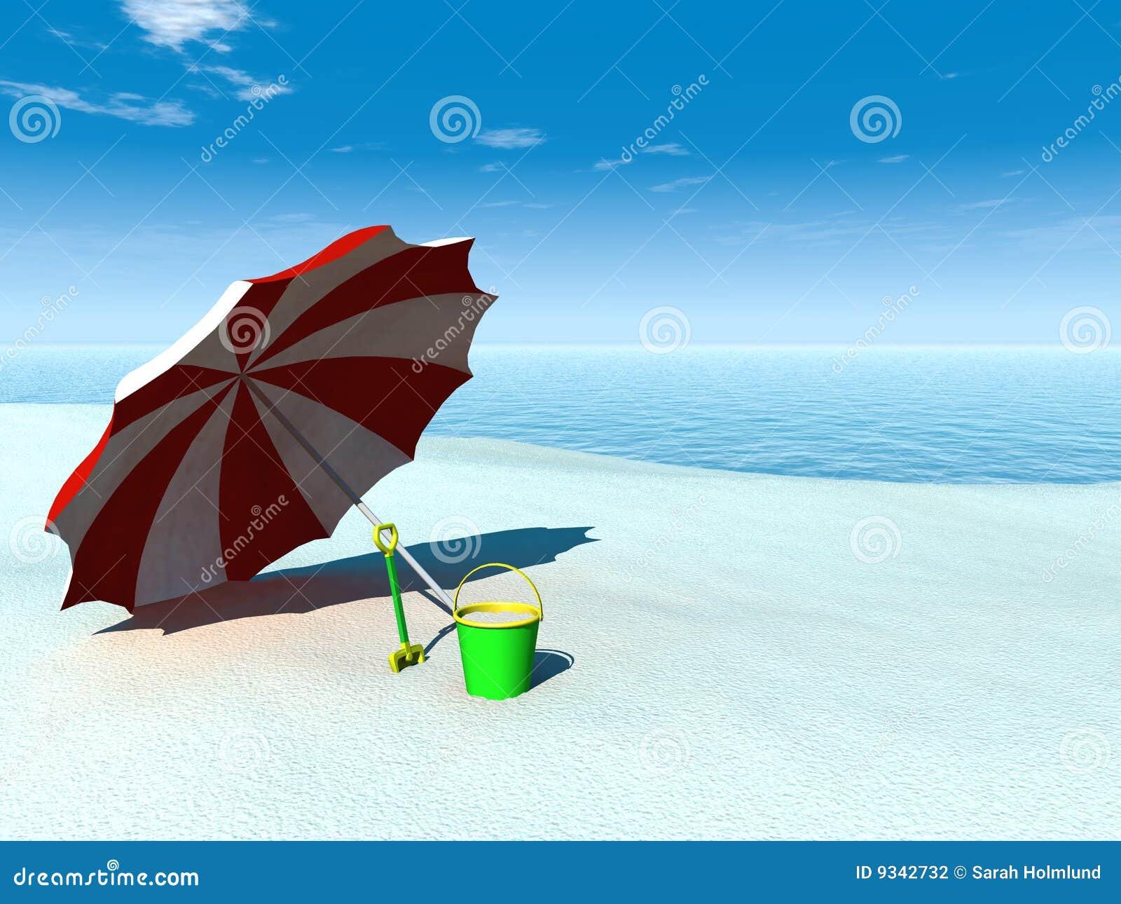 De parasol de emmer en de spade van de zon op een strand stock fotografie beeld 9342732 - Zon parasol ...