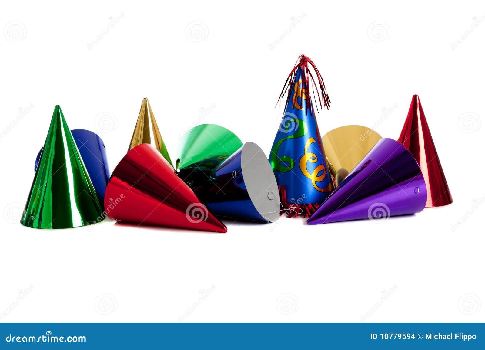 De partijhoeden van de verjaardag