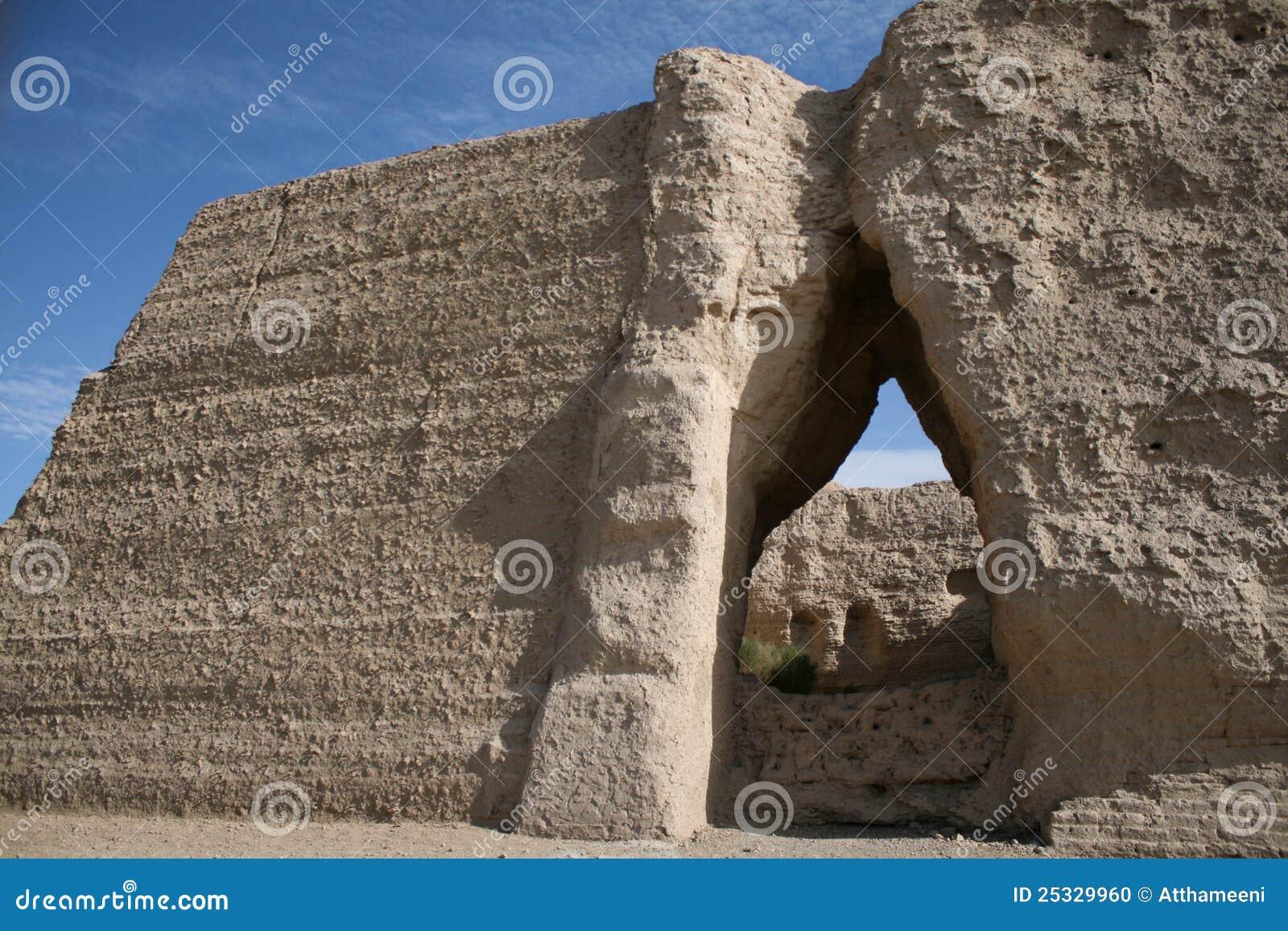 De pas van Yuemen Guan van de poort, de woestijn Dunhuang China van Gobi