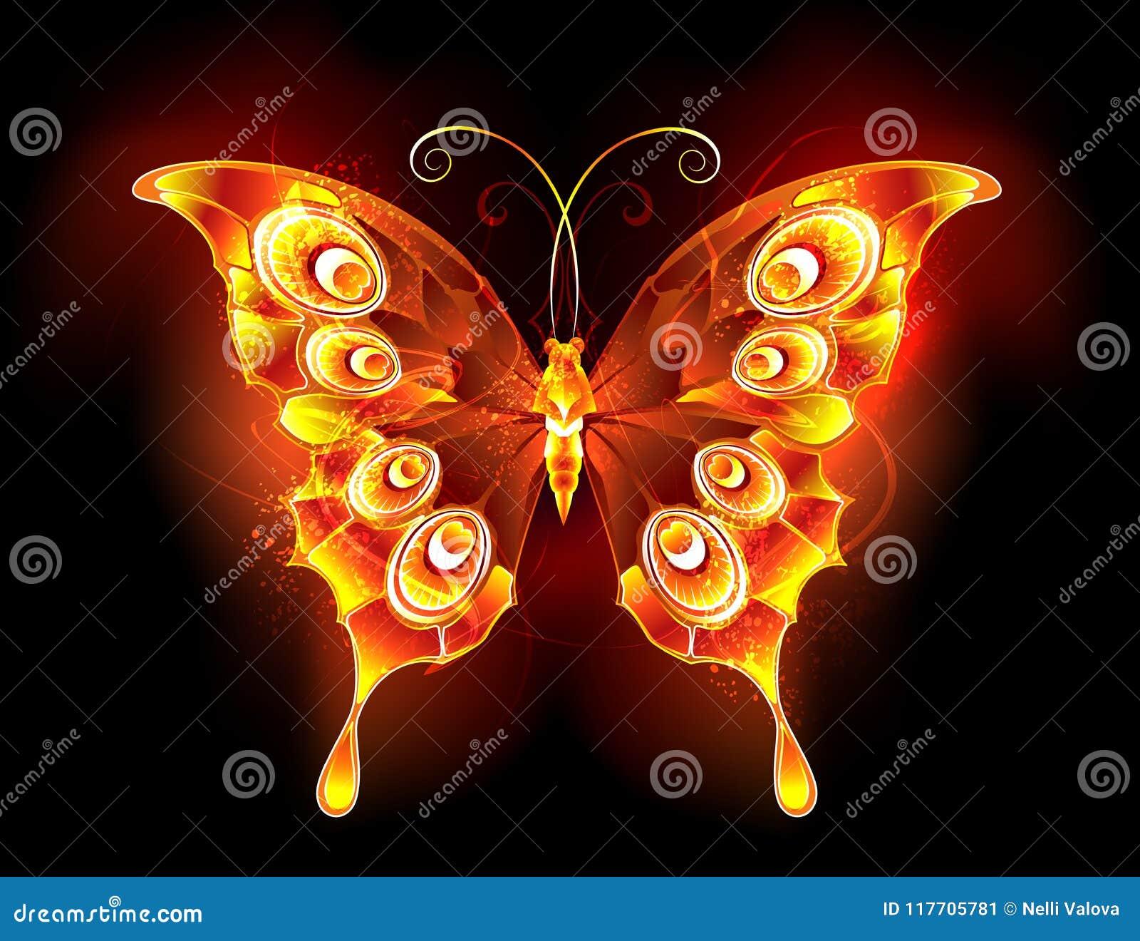 De pauw Vurige vlinder van de brandvlinder