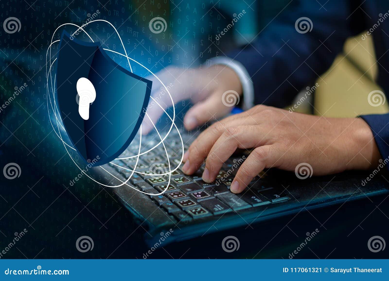 De pers gaat knoop op van het het Schild cyber Belangrijkste slot van de toetsenbordcomputer van de het veiligheidssysteem abstra