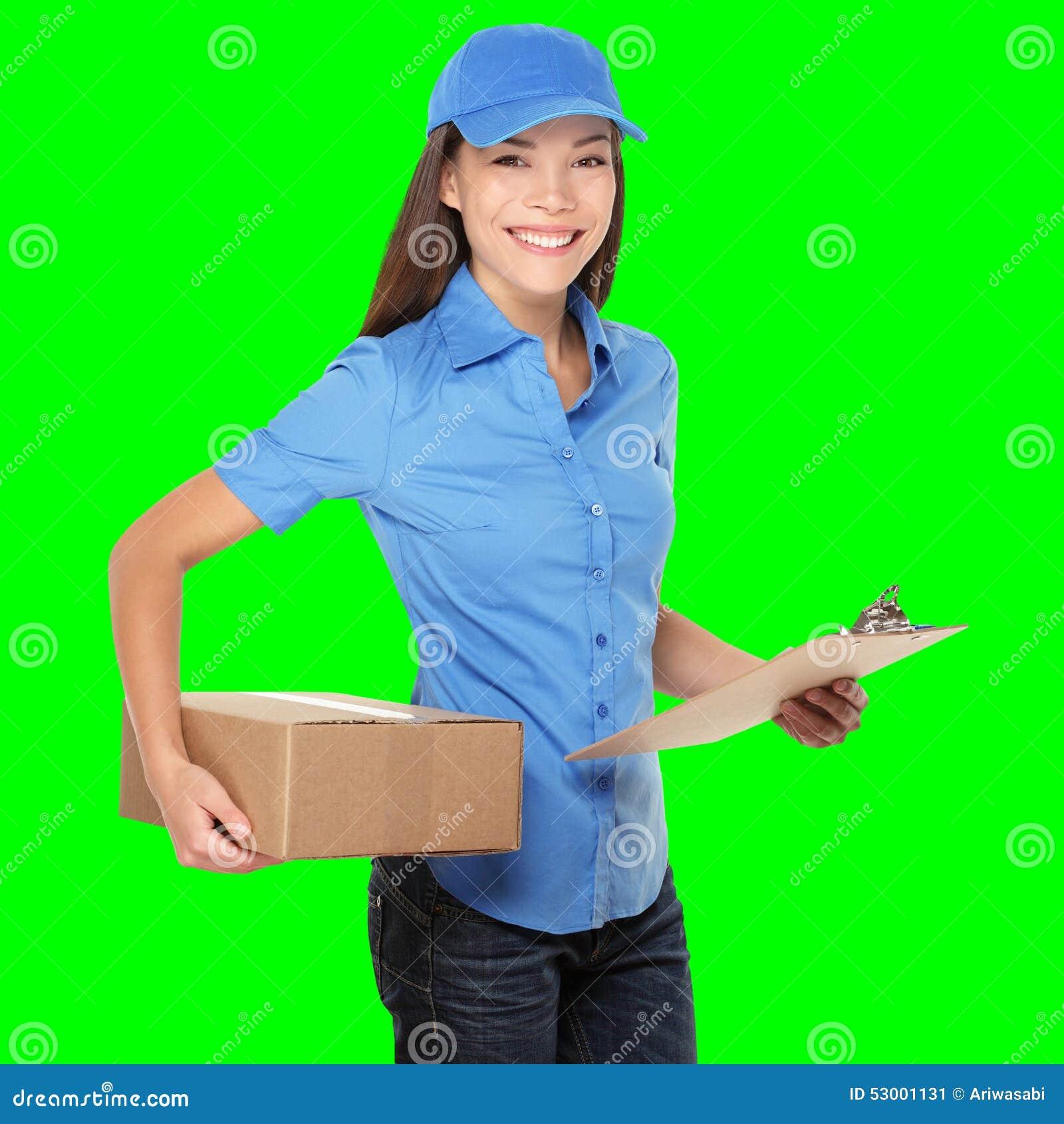 De persoon die van de levering pakket levert